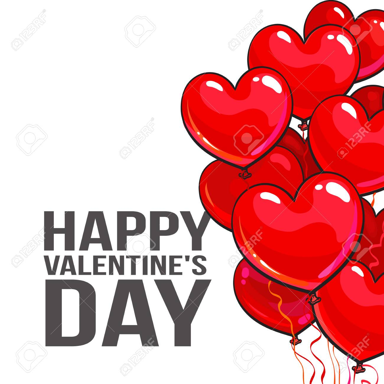 Valentine day greeting card with a bunch of glossy heart shaped valentine day greeting card with a bunch of glossy heart shaped balloons on white background m4hsunfo