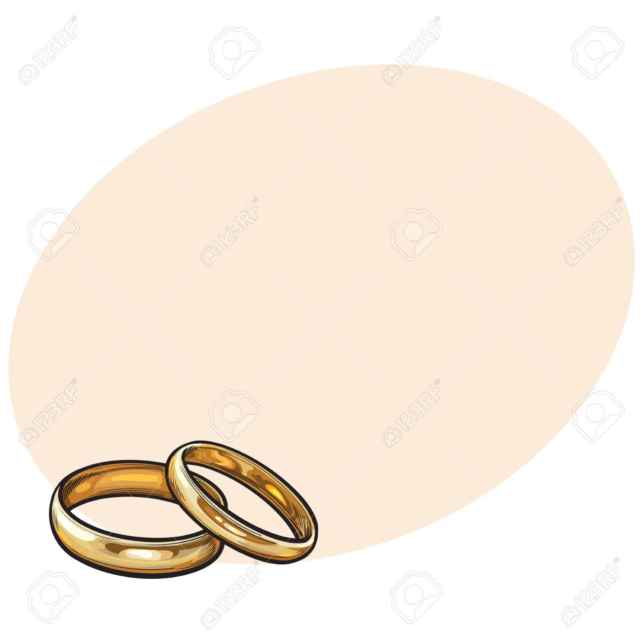 Pair Of Traditional Golden Wedding Rings Sketch Style Illustration