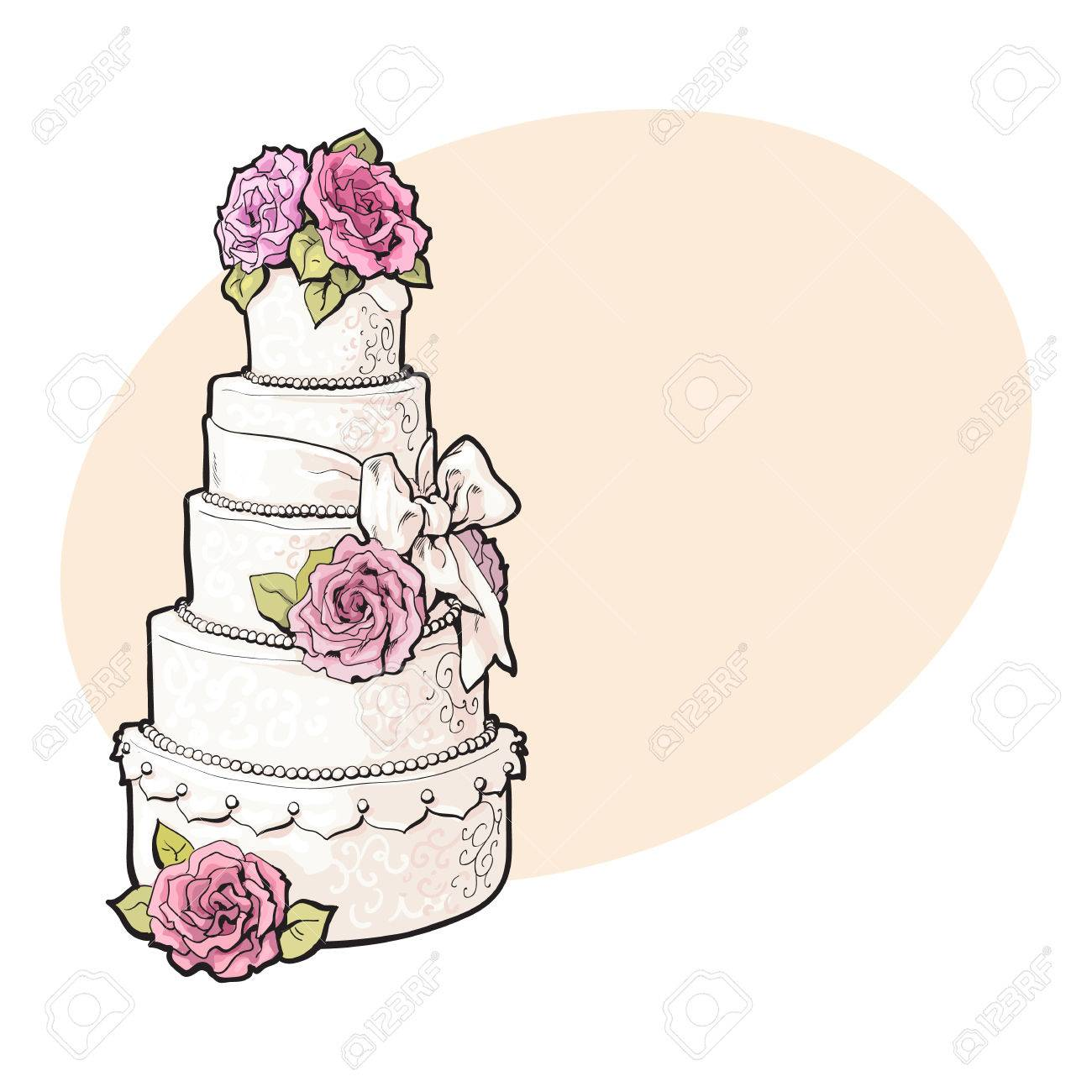 Blanc Traditionnel étagée Gâteau De Mariage Décoré Avec Des Roses Massepain Rose Croquis Illustrations De Style Sur Fond Avec Place Pour Le Texte