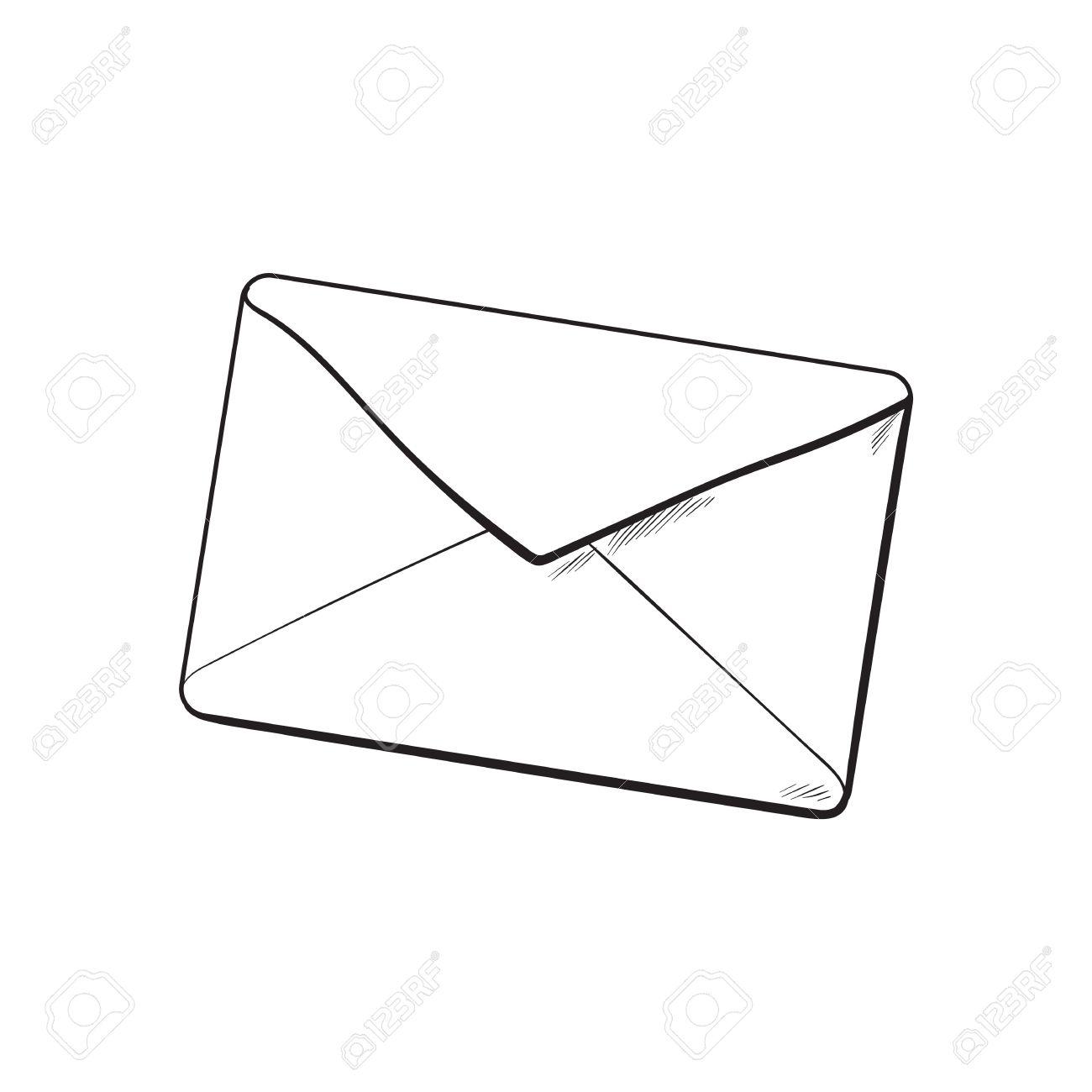 Dessin D Enveloppe fond de l'enveloppe, croquis d'illustration vectorielle isolé sur