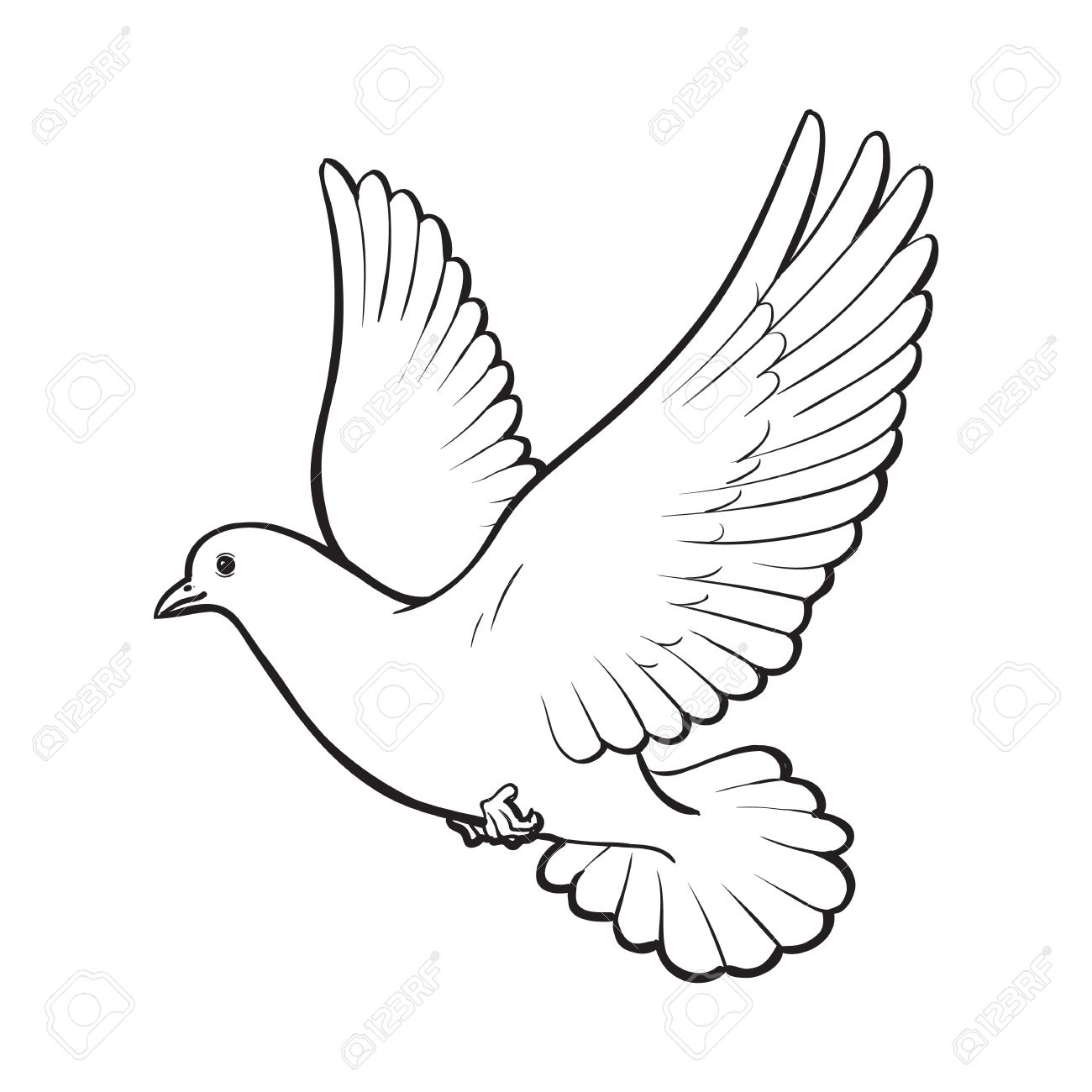 Free flying white dove, sketch style vector illustration isolated