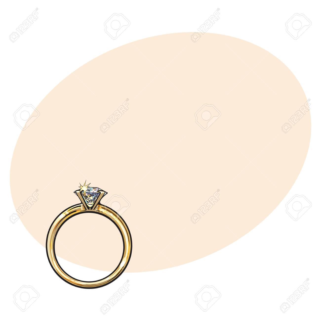 大きな輝くダイヤモンドテキストの背景にスケッチ イラストと黄金の