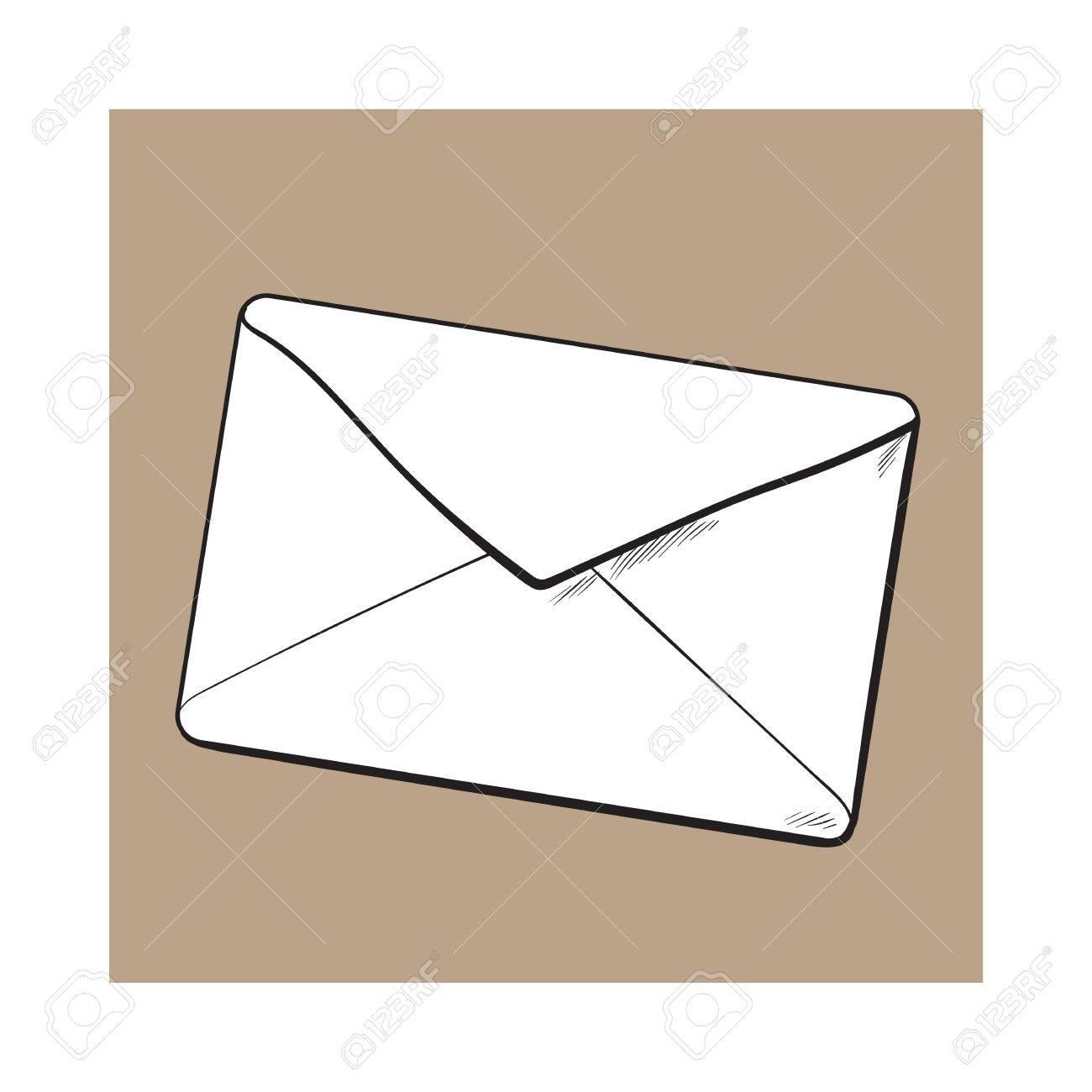 Dessin D Enveloppe arrière de l'enveloppe, illustration de vecteur de croquis isolé sur