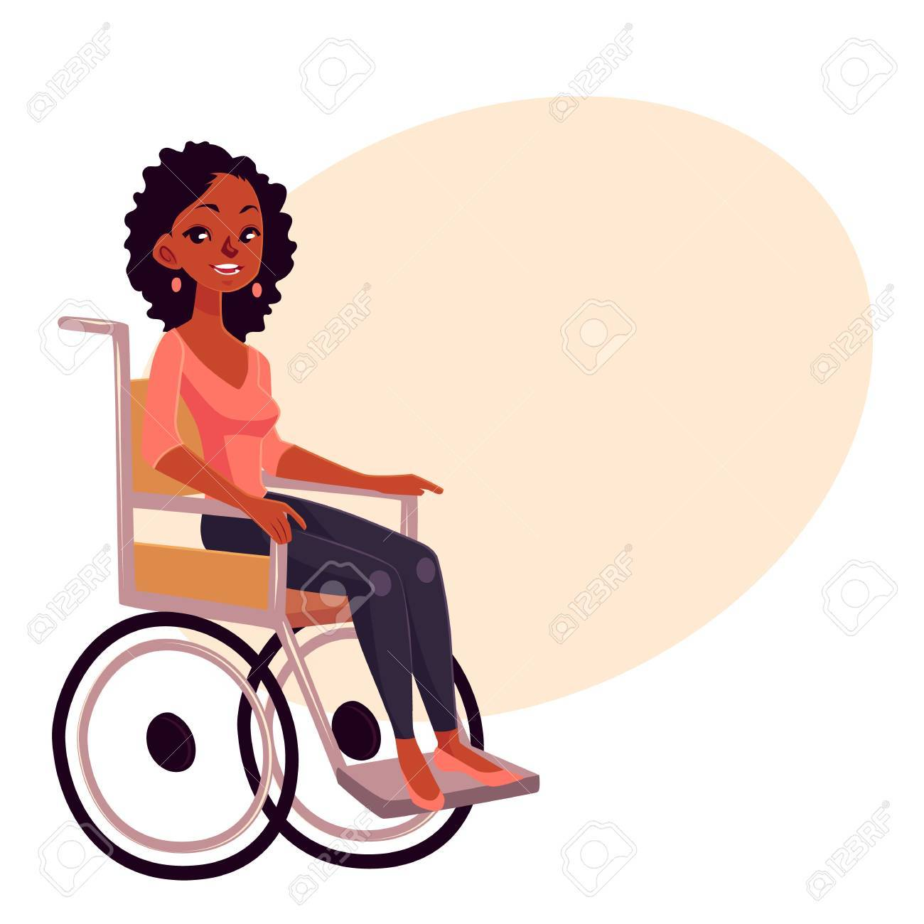 Jeune Femme Noire Assise En Fauteuil Roulant Illustration De