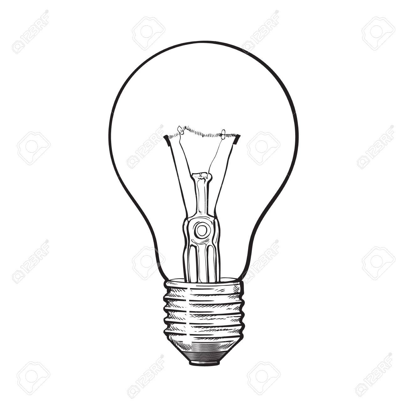 Traditional Transparent Tungsten Light Bulb, Side View, Sketch Style Vector  Illustration Isolated On White