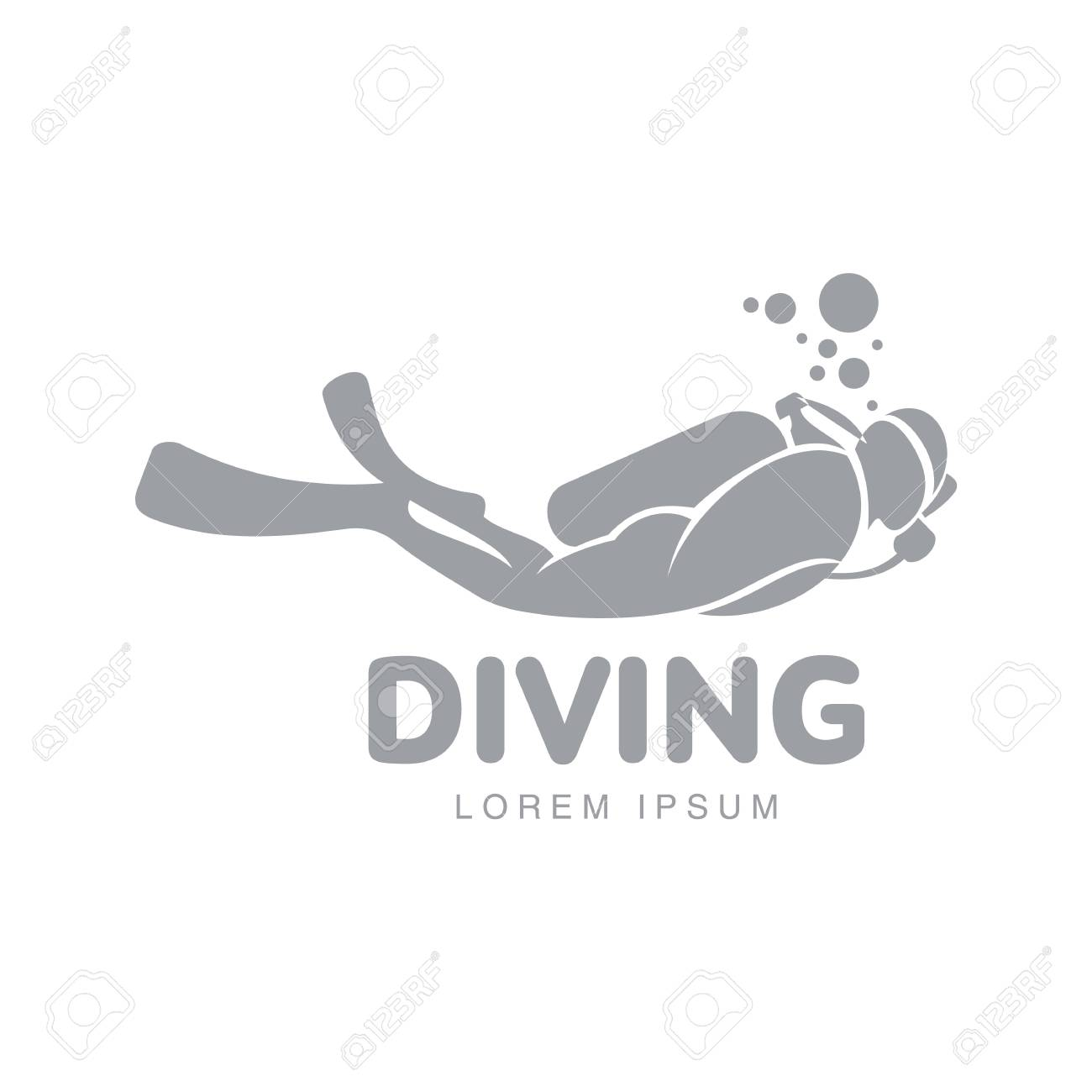 Black and white graphic diving logo template with diver swimming underwater, vector illustration isolated on white background. Scuba diving, snorkeling logotype, logo design with stylized diver - 70234767