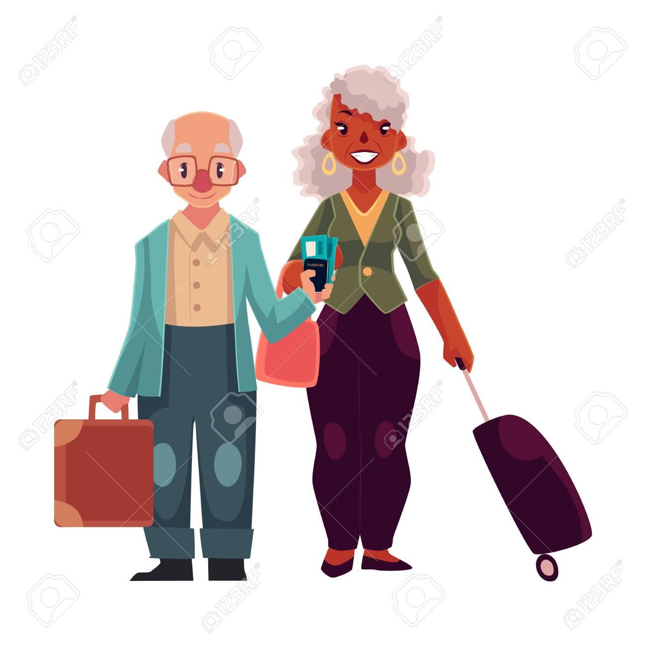 Maletas En El Pareja Aeropuerto Con Vieja Mujer Hombre Negra De Y 0xTqHA8