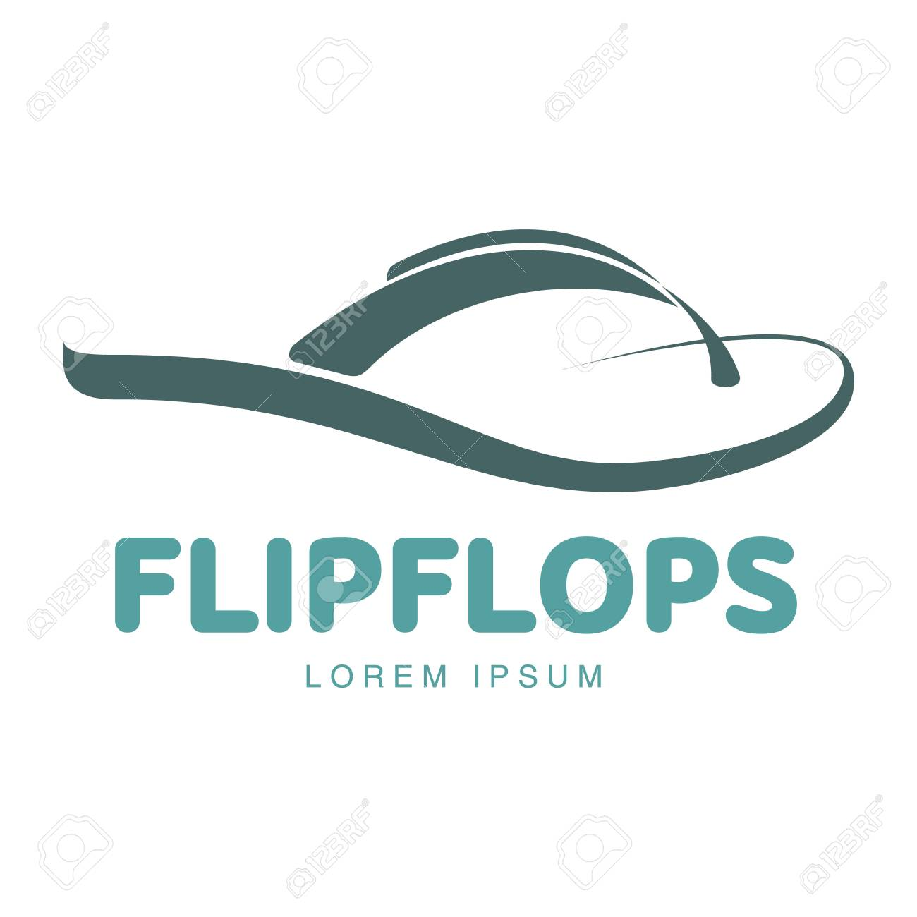 760bb8ce63fec Stylized Twisted Rubber Flip Flop Logo Template