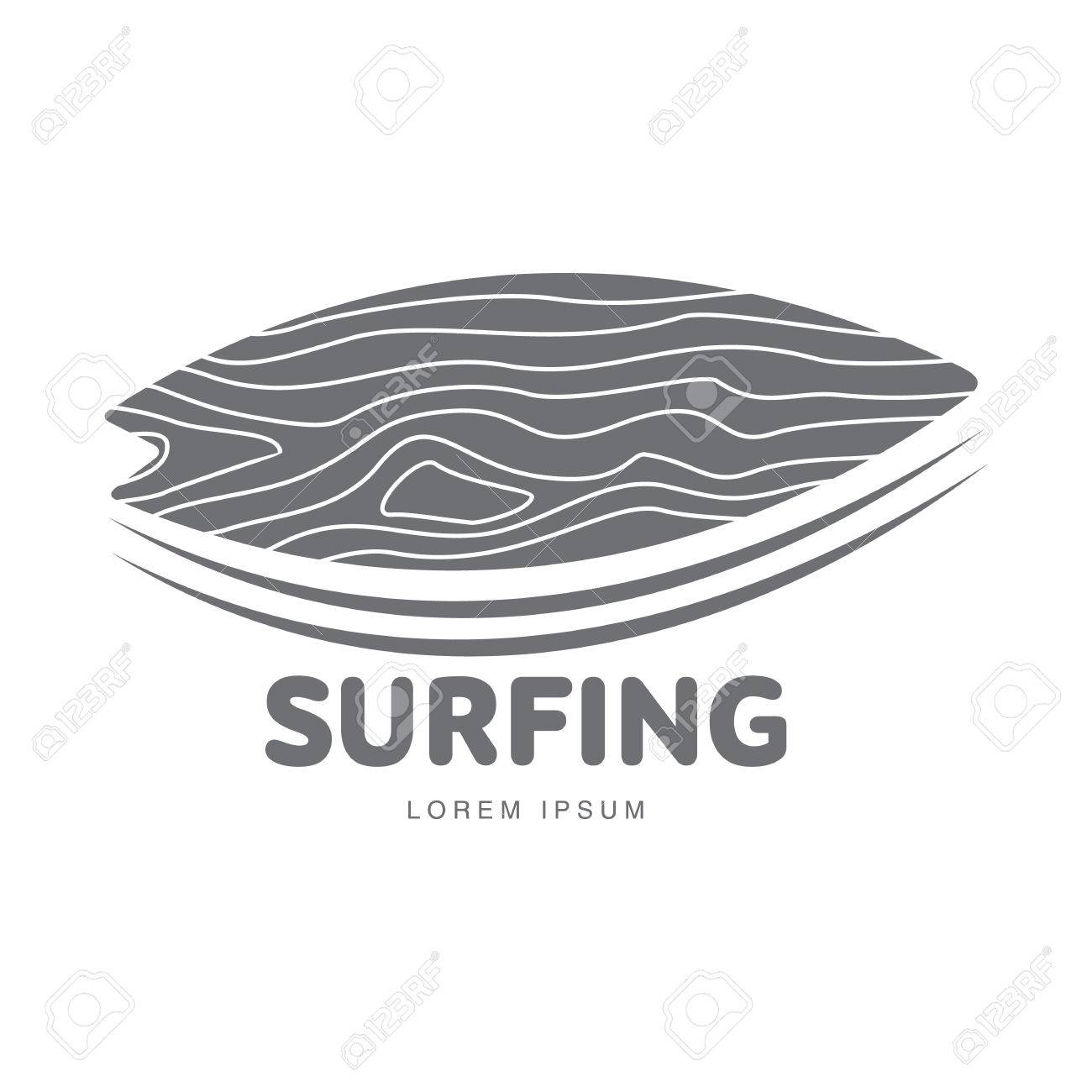 Black And White Graphic Surfing Logo Template With Surfboard ...