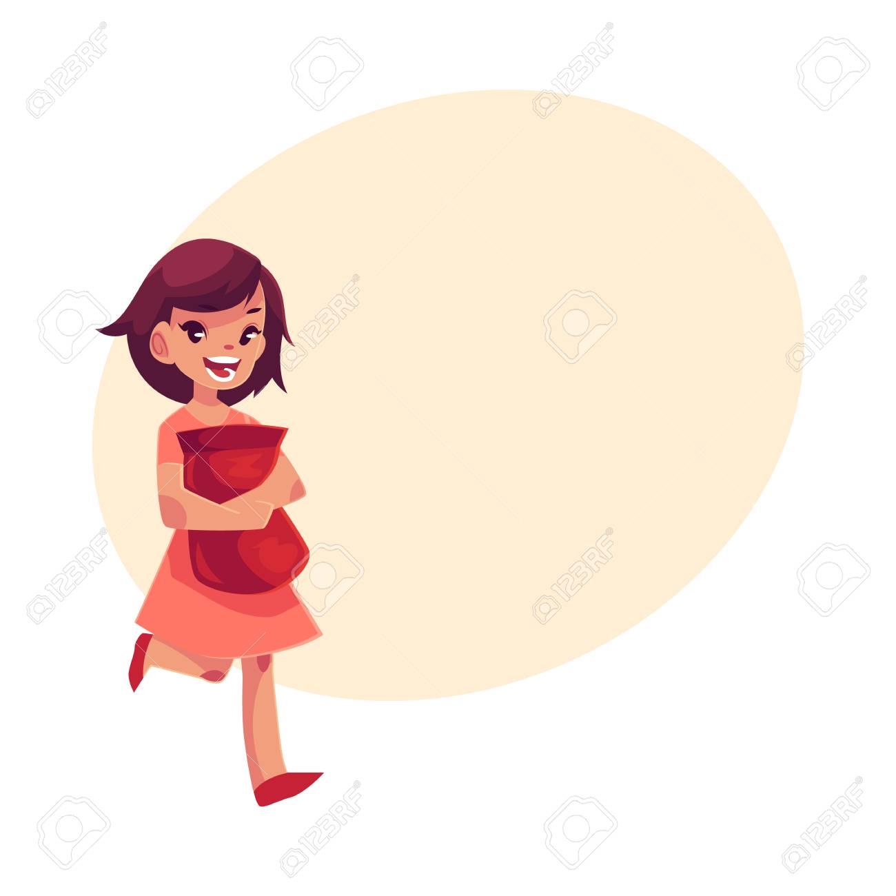 Petite Fille En Robe Rose Tenant Le Paquet De Jetons En Mains étroitement Illustration De Vecteur De Dessin Animé Isolé Sur Fond Blanc Heureuse