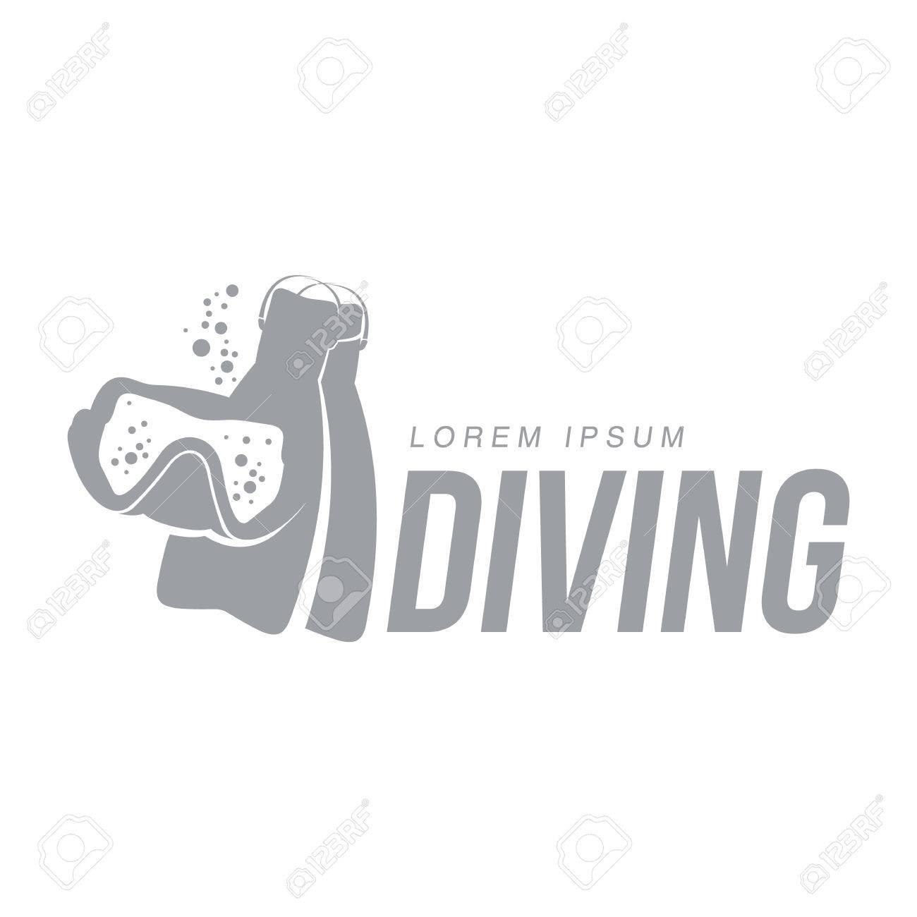 Black And White Graphic Diving Logo Template With Mask Flippers Vector Illustration Isolated Scuba