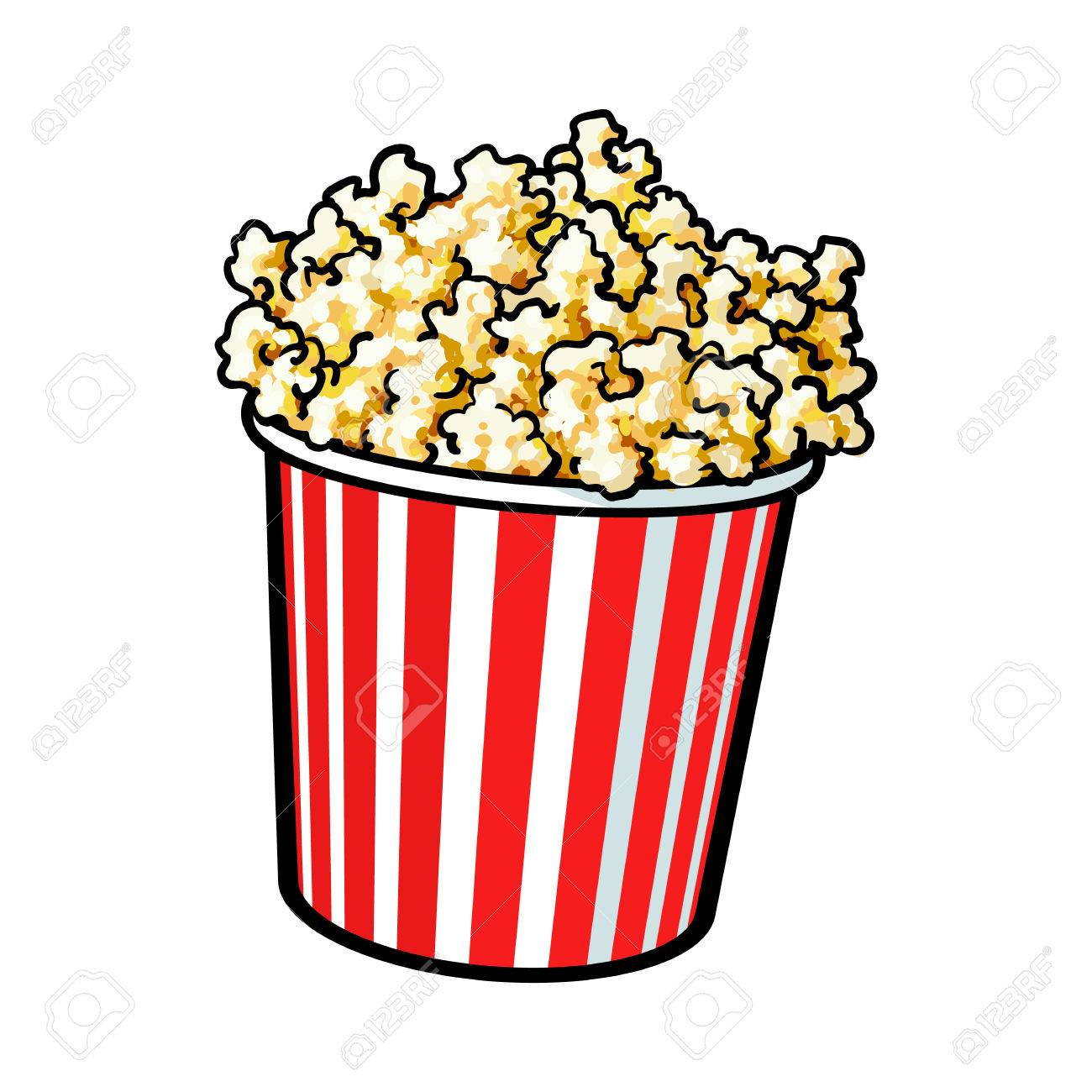 cinema popcorn in a big red and white striped bucket sketch rh 123rf com