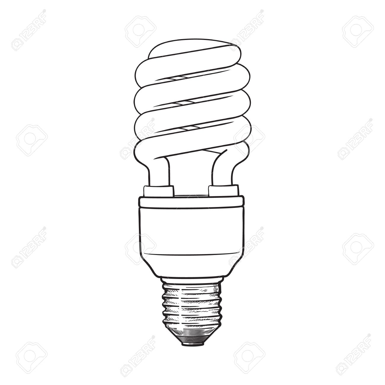 Fluorescent, Energy Saving, Spiral Light Bulb, Side View, Sketch ... for Fluorescent Tube Drawing  55dqh