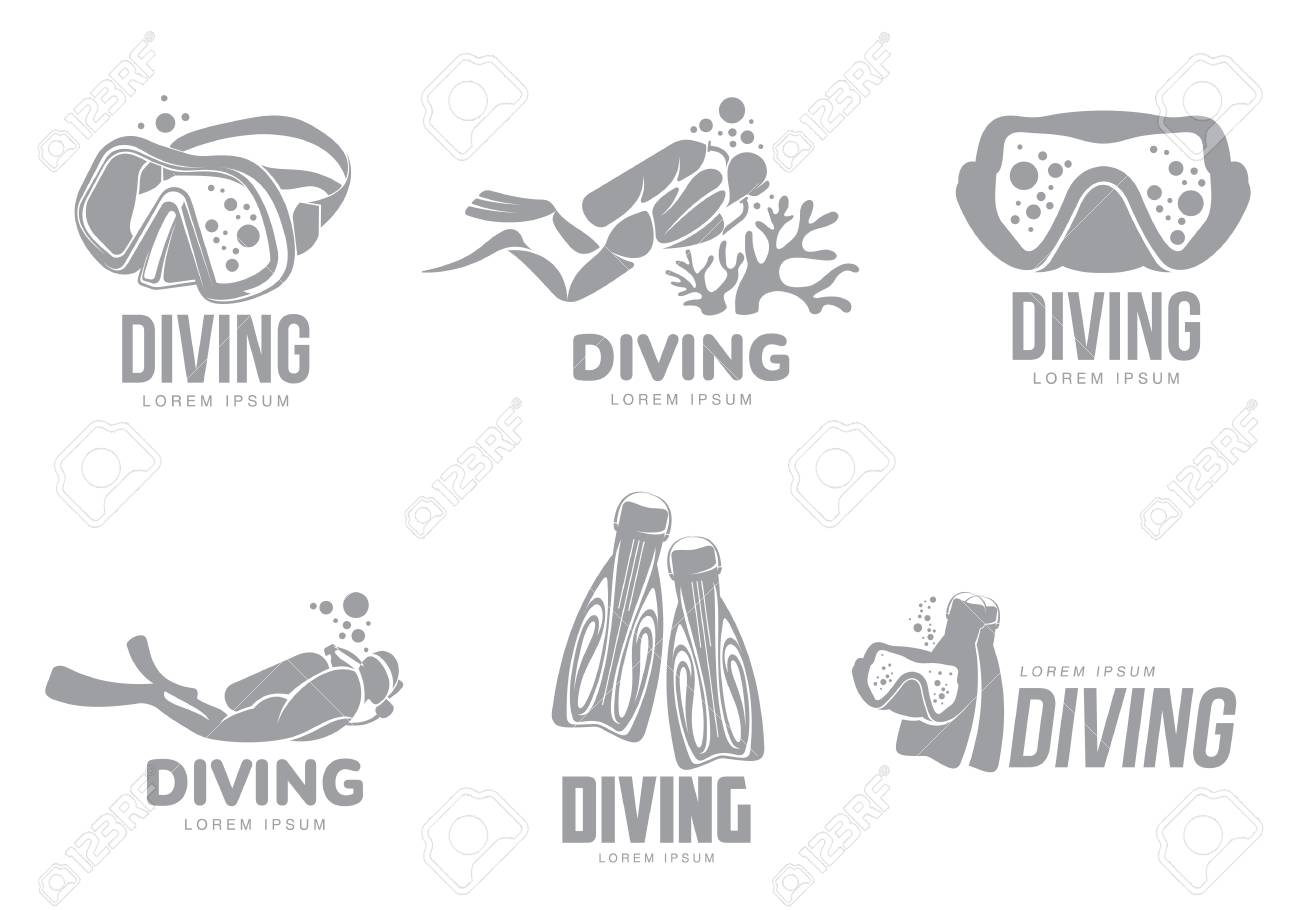 Set Of Black And White Graphic Diving Templates With Divers Mask Flippers Illustration
