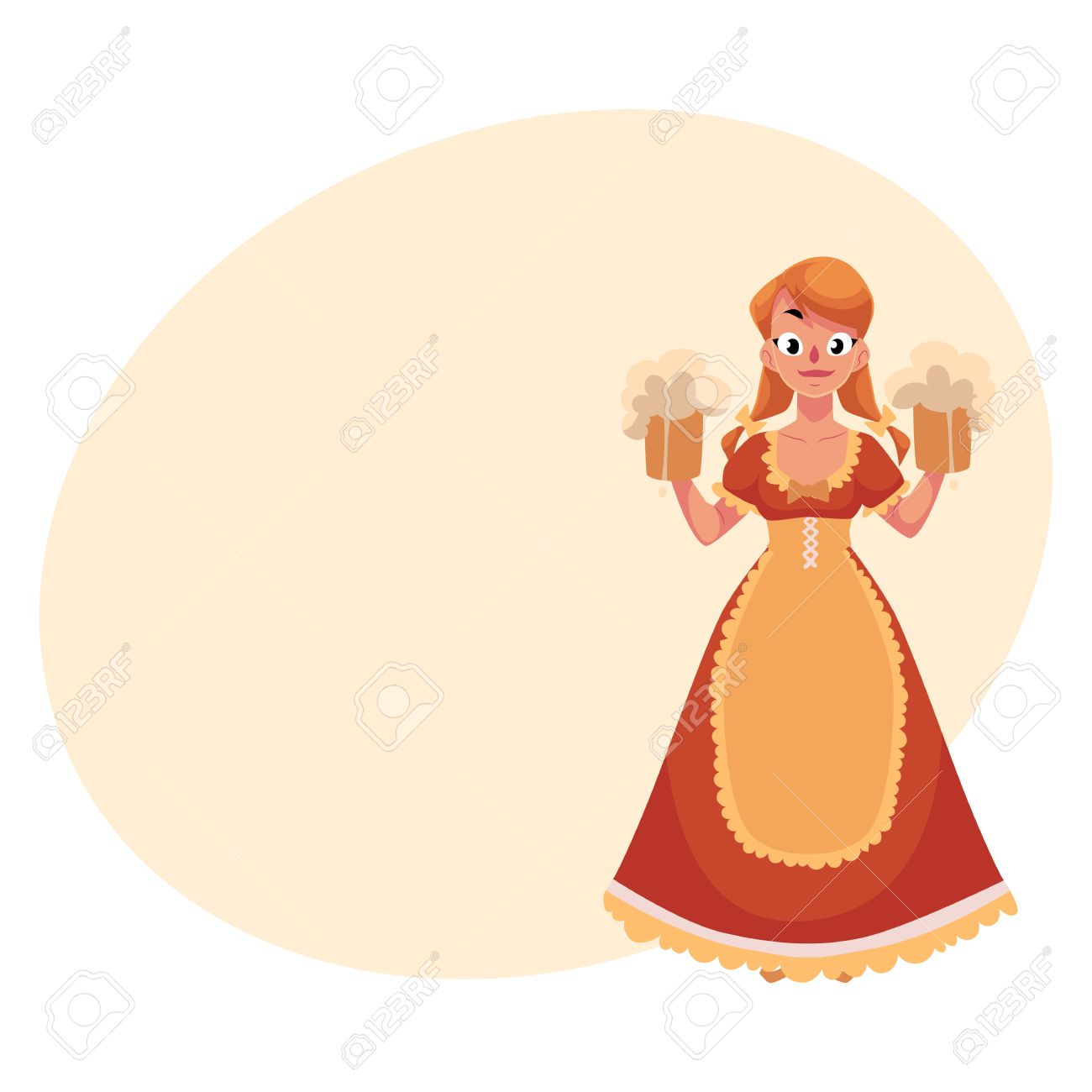 Femme Dans Une Robe De Campagne Traditionnelle Allemande Bavaroise Autrichienne Tenant Des Chopes A Biere Oktoberfest Illustration De Dessin Anime Avec Place Pour Le Texte Fille Allemande En Costume Traditionnel Oktoberfest Clip