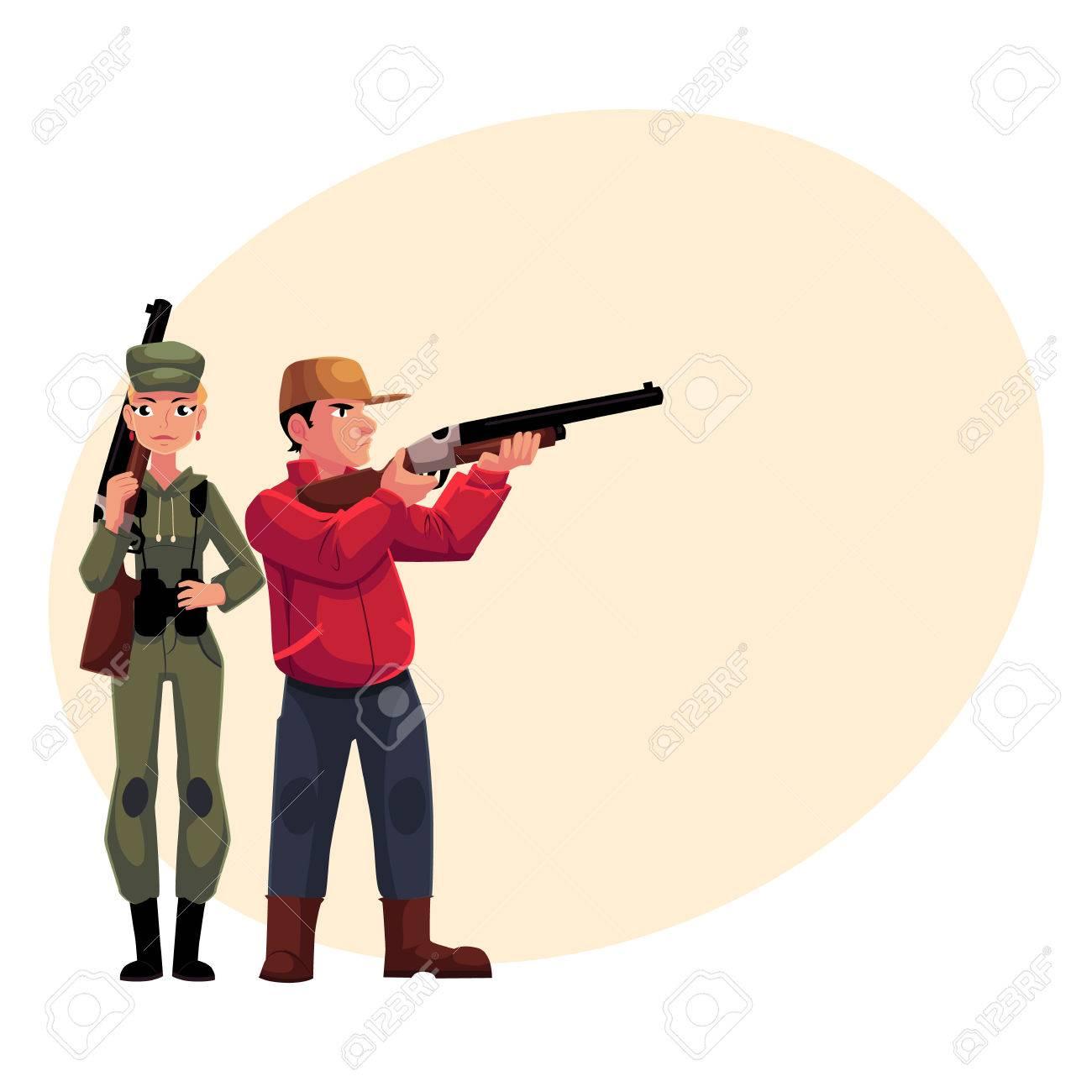 Tenant Deux Et Des Chasseurs Debout Hommes Fusils Femmes qrfEXrw