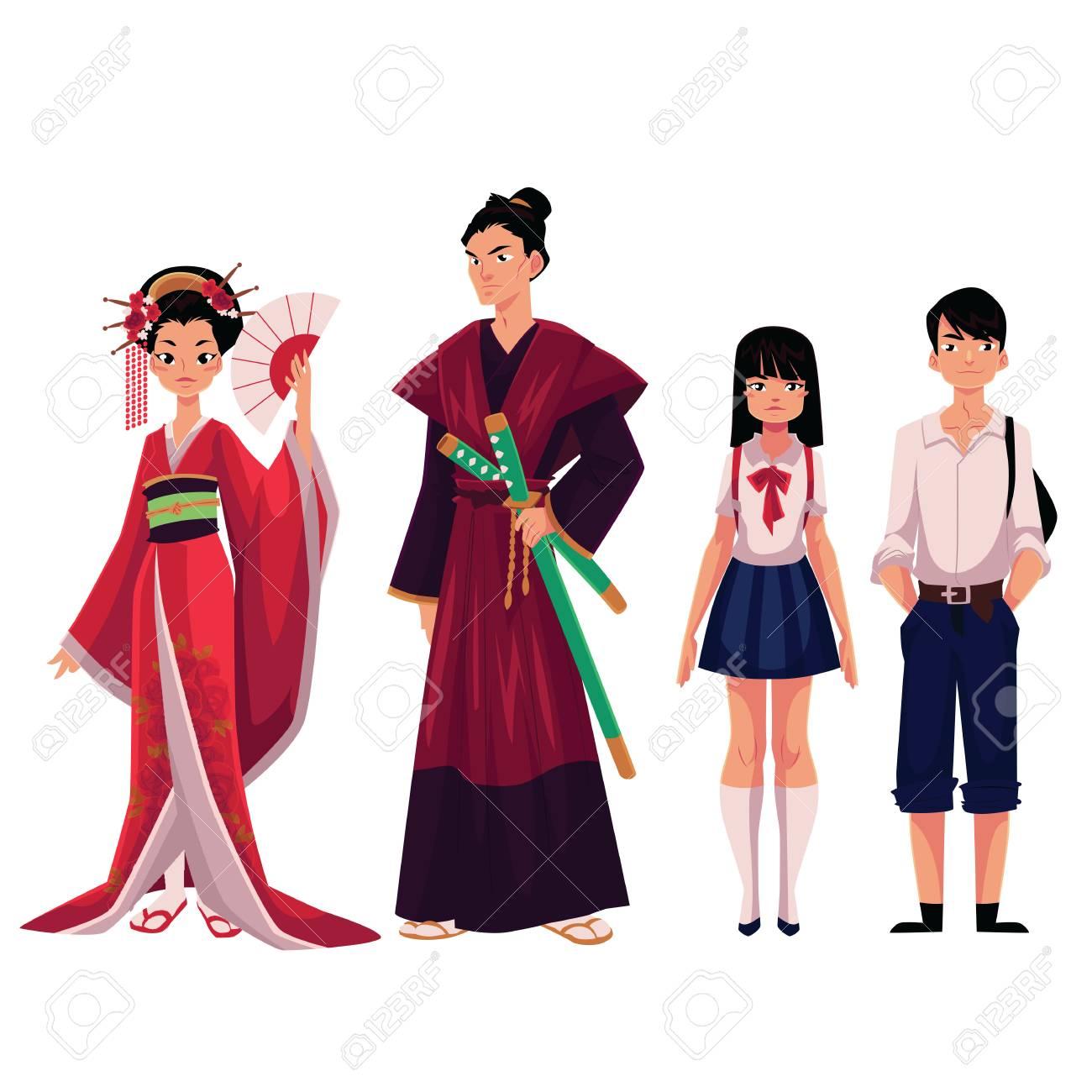 Les Japonais Geisha Et Samourai En Costumes Historiques Ecoliere