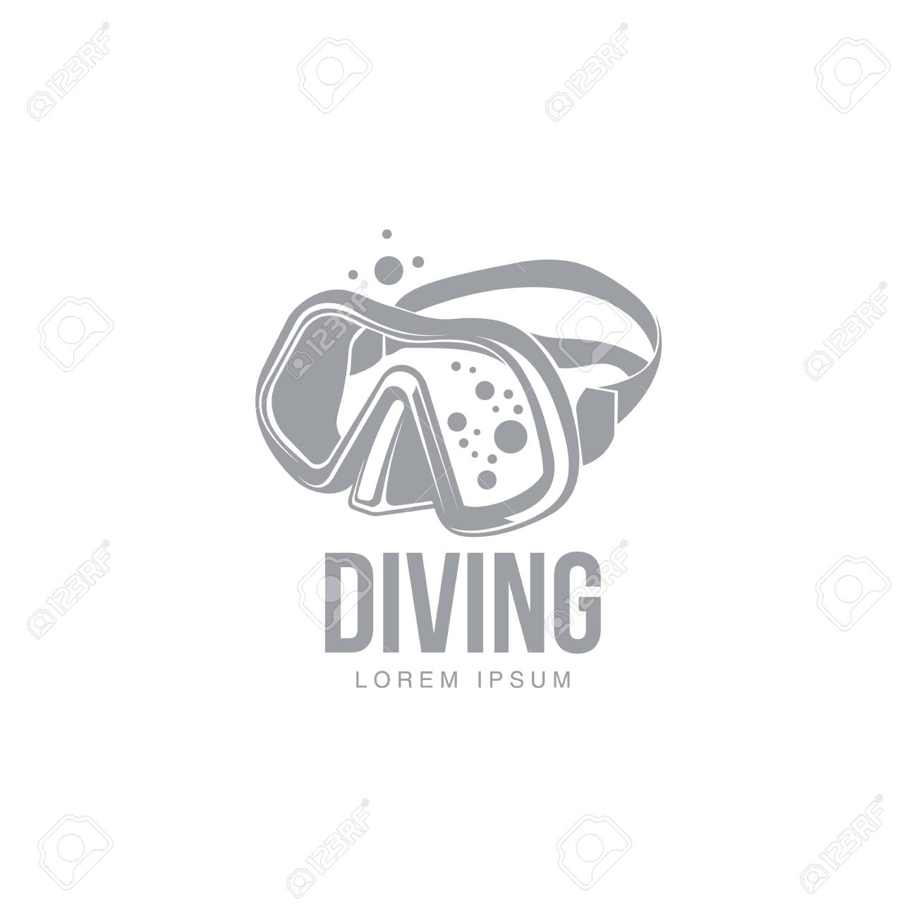 Black And White Graphic Diving Template With Diver Mask Illustration Isolated On Background