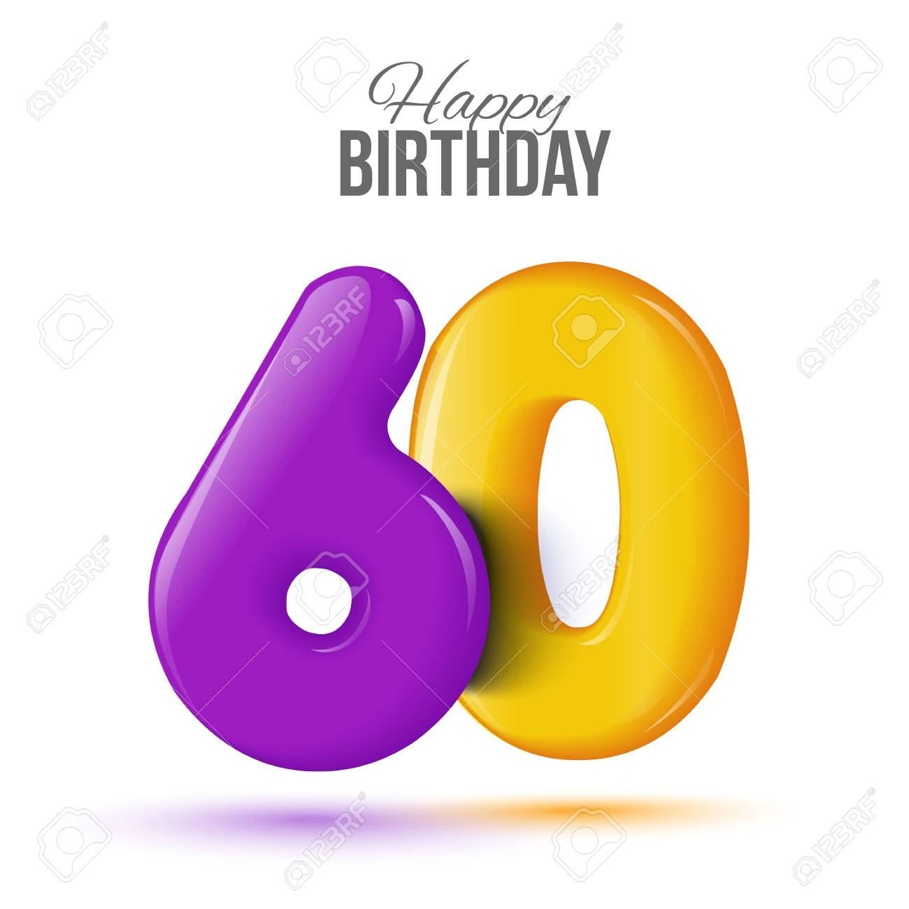 Sixty Birthday Greeting Card Template With 3d Shiny Number Sixty Balloon On White Background Birthday Party Greeting Invitation Card Banner With