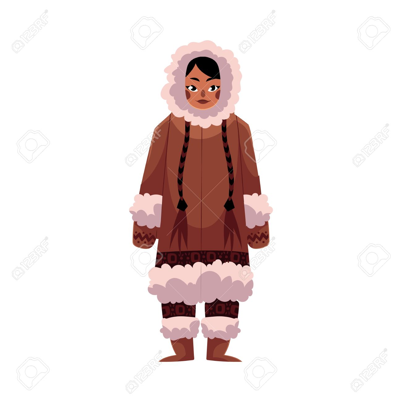 eskimo inuit woman in traditional warm winter clothes with long