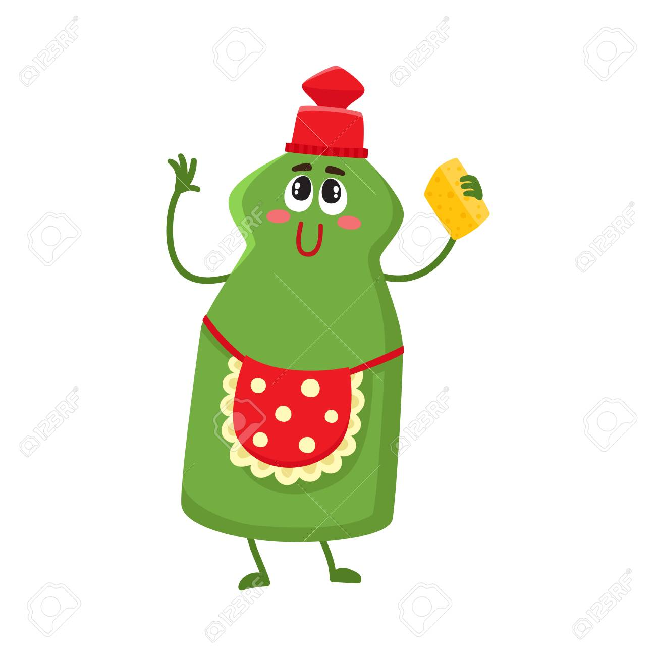Funny dish washing character with smiling human face and cleaning