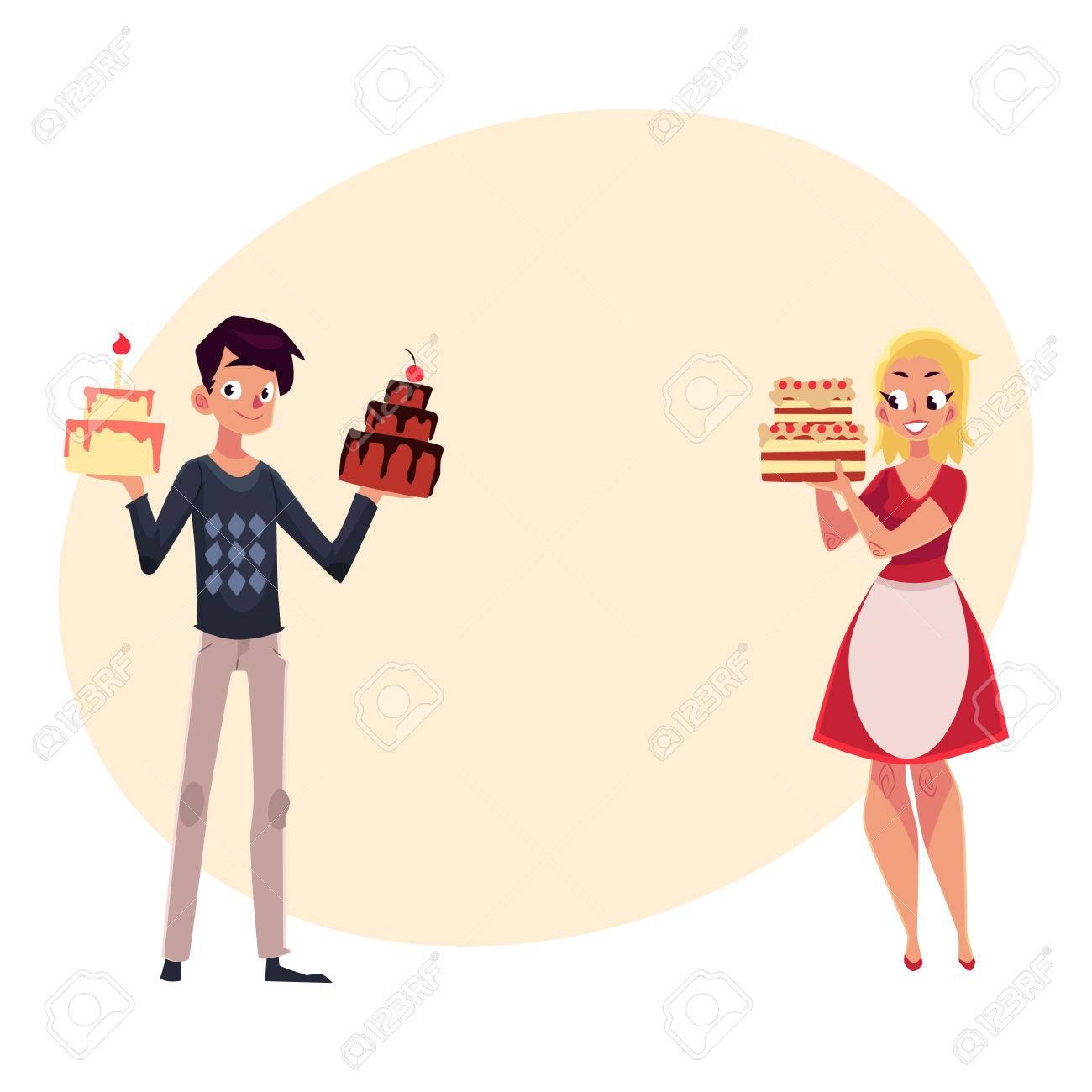 Junges Paar Elternteil Mann Und Frau Mit Geburtstagskuchen Immer