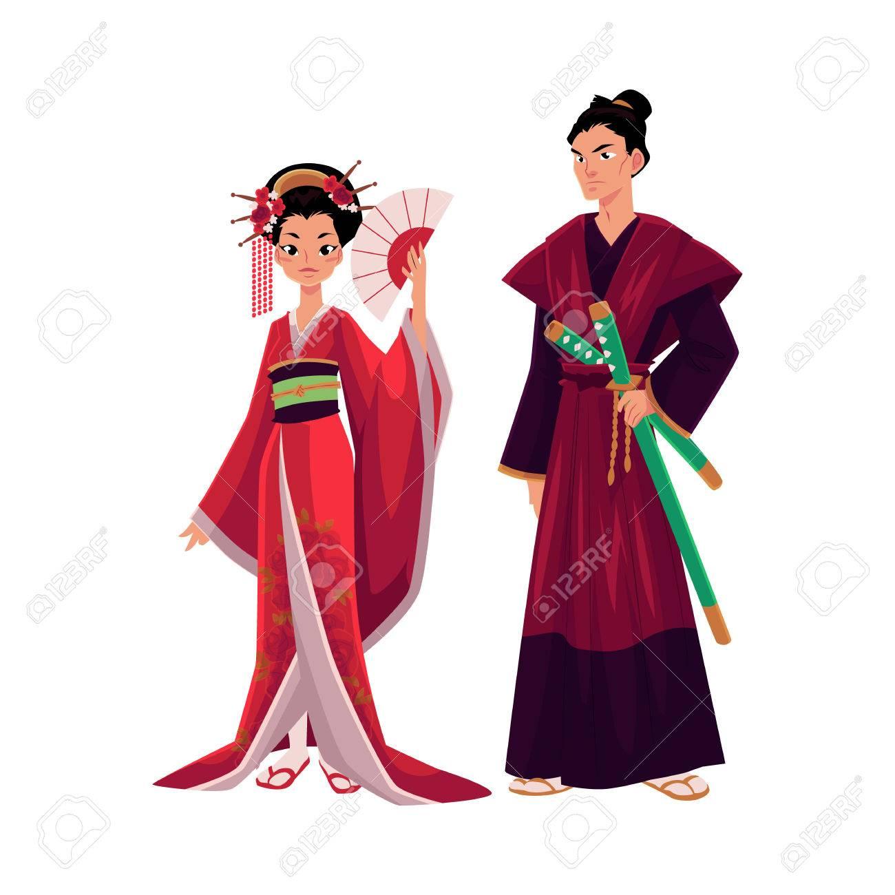 Geisha Japonaise Et Samourai En Kimono Traditionnel Symboles Du