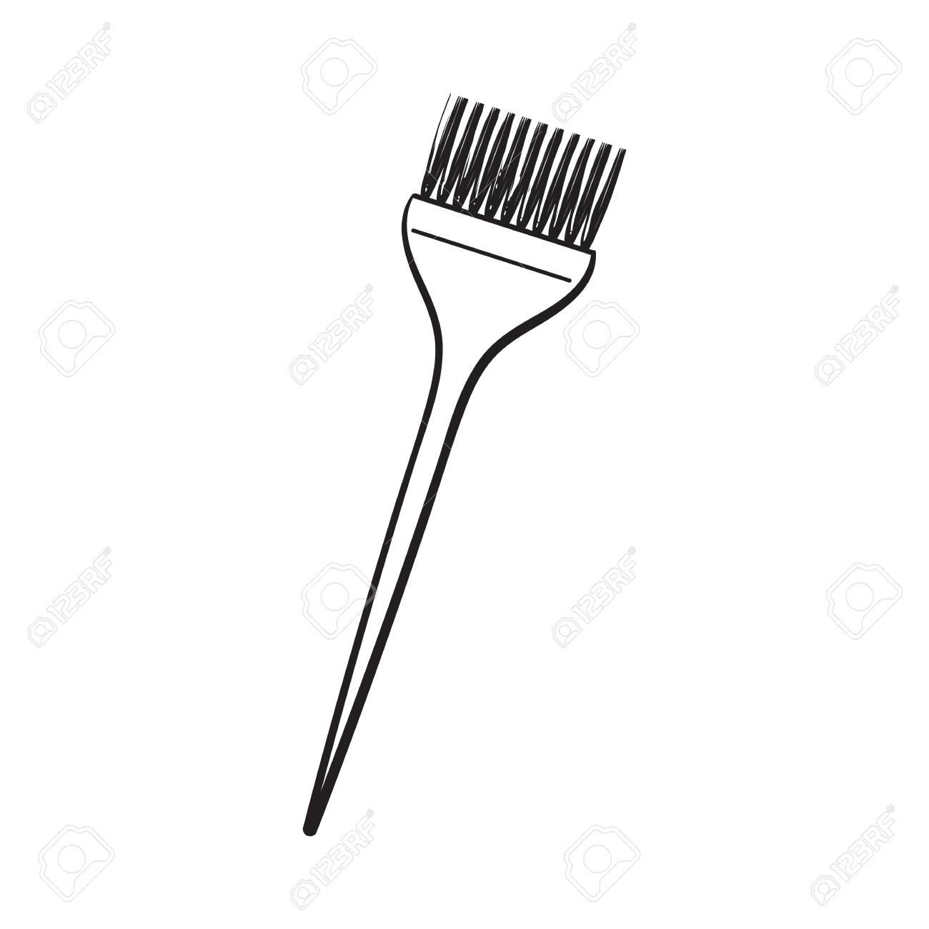 Coloree La Mezcla Del Cepillo Plástico Del Peluquero Cepillo Para El Pelo Ejemplo Del Vector Del Estilo Del Bosquejo Aislado En El Fondo Blanco