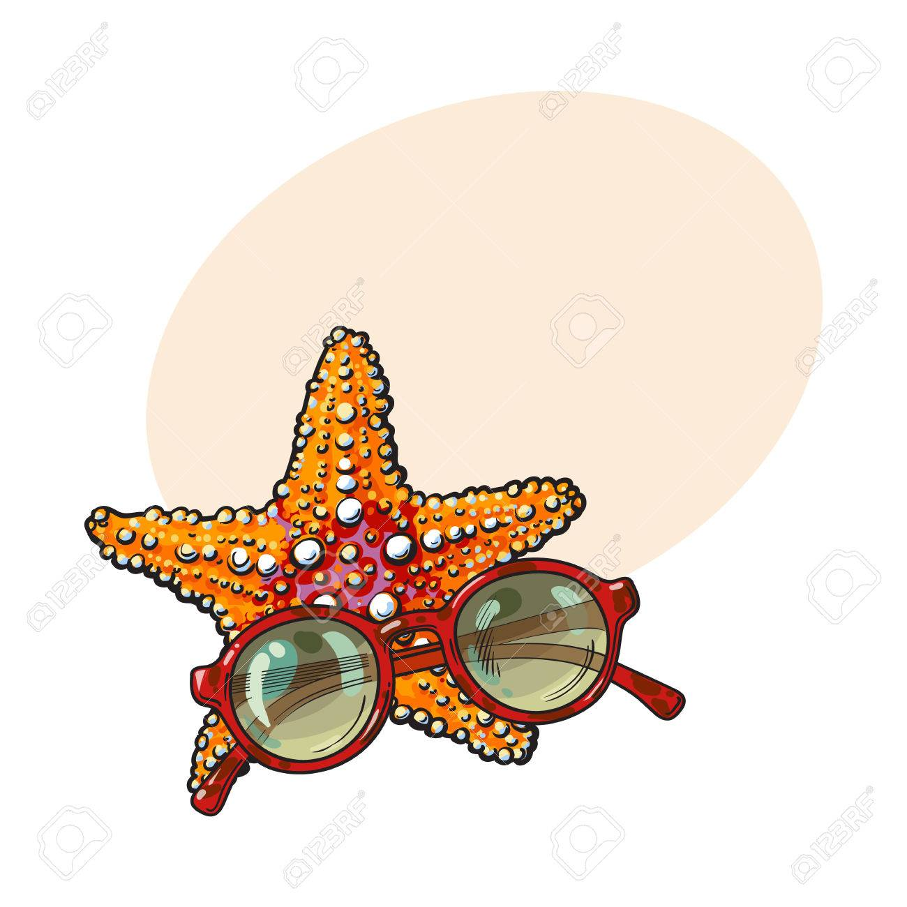 Hand Drawn Starfish And Round Sunglasses In Red Plastic Frame ...