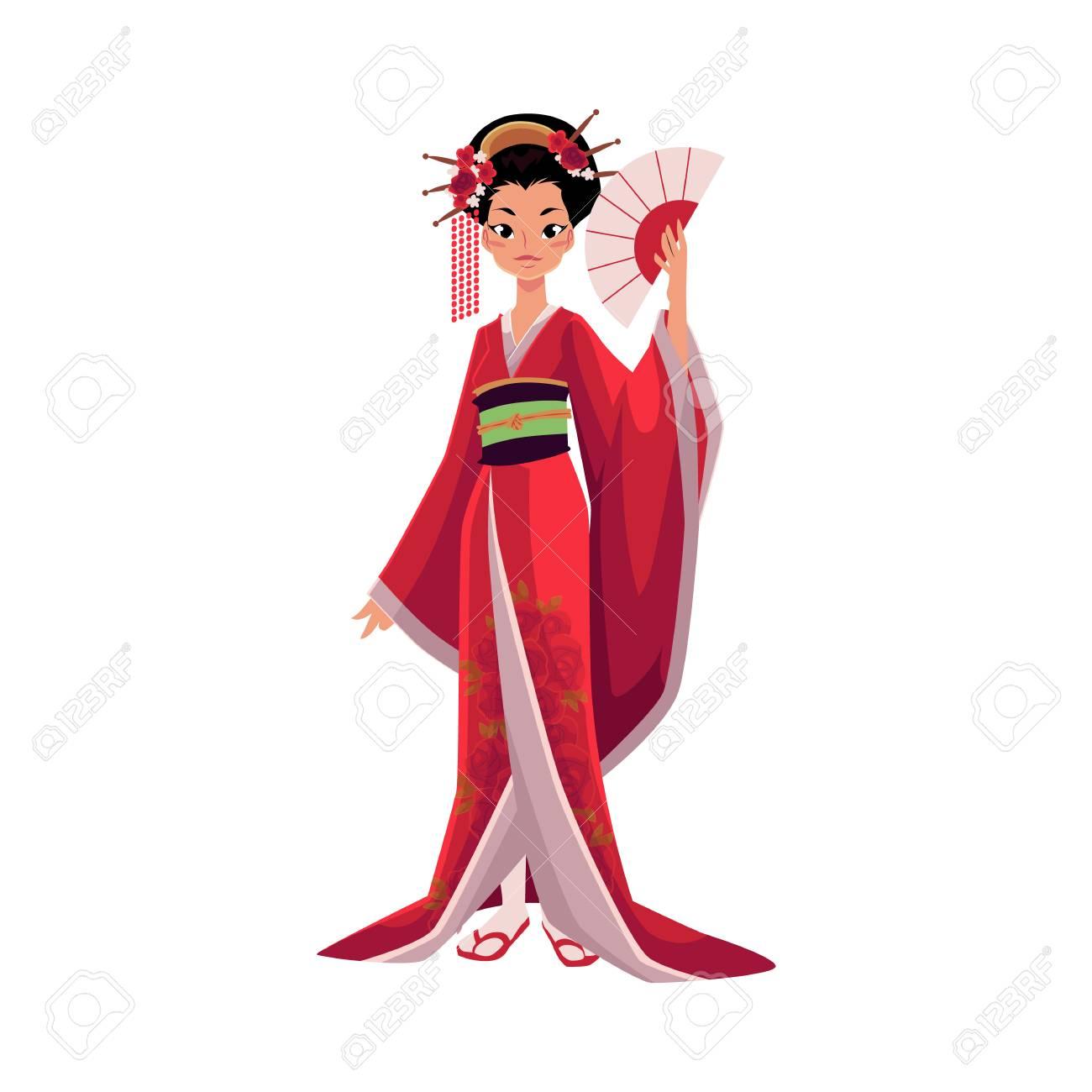 08c271b20 Geisha japonesa en kimono con ventilador, símbolo de Japón, ilustración  vectorial de dibujos animados aislado sobre fondo blanco. Retrato de cuerpo  ...