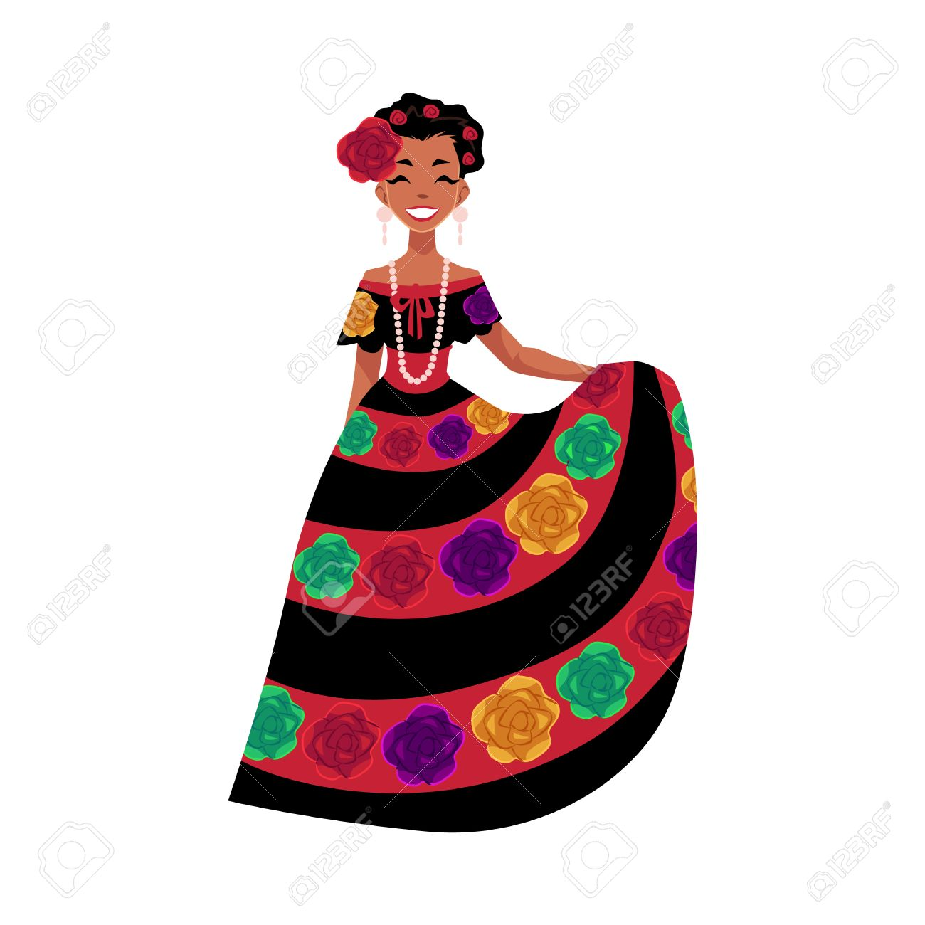 Mexican Woman In Traditional National Dress Decorated With ...