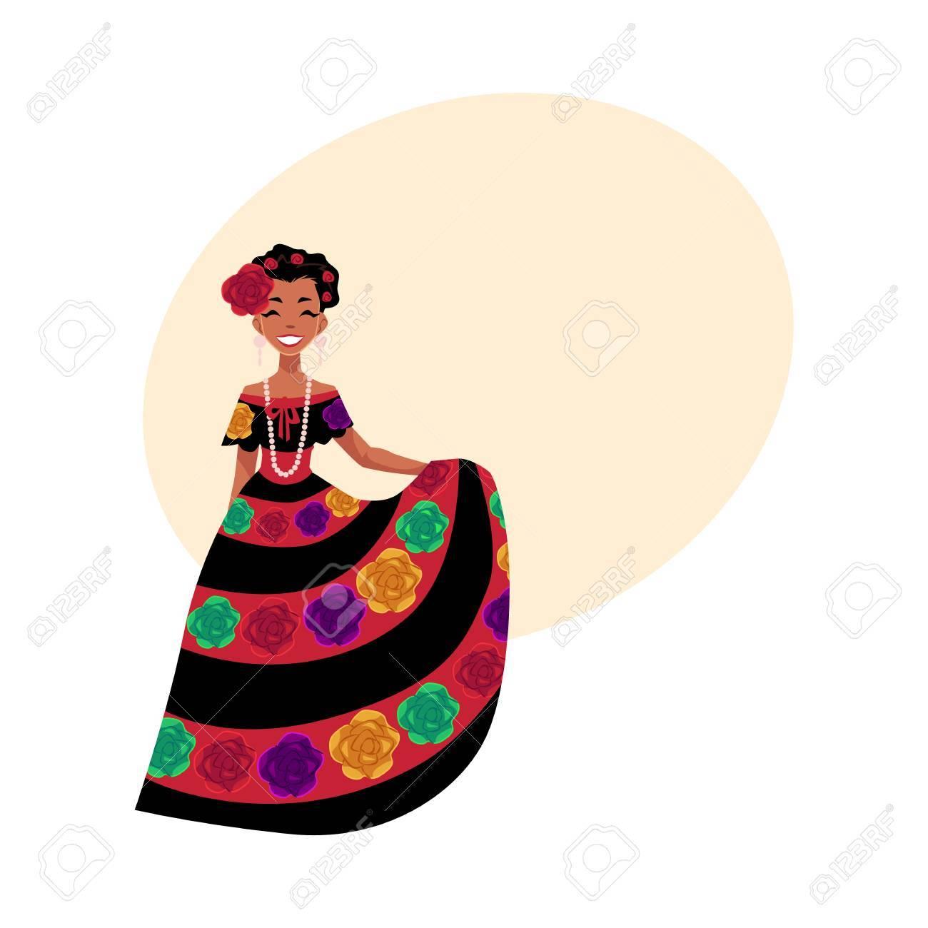 Mujer Mexicana En Traje Nacional Tradicional Decorado Con Flores ...