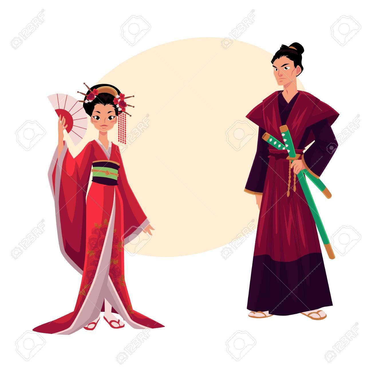 b1cf0e181 Geisha japonesa y samurai en kimono tradicional, símbolos de Japón,  ilustración vectorial de dibujos animados con lugar para el texto. Retrato  de ...