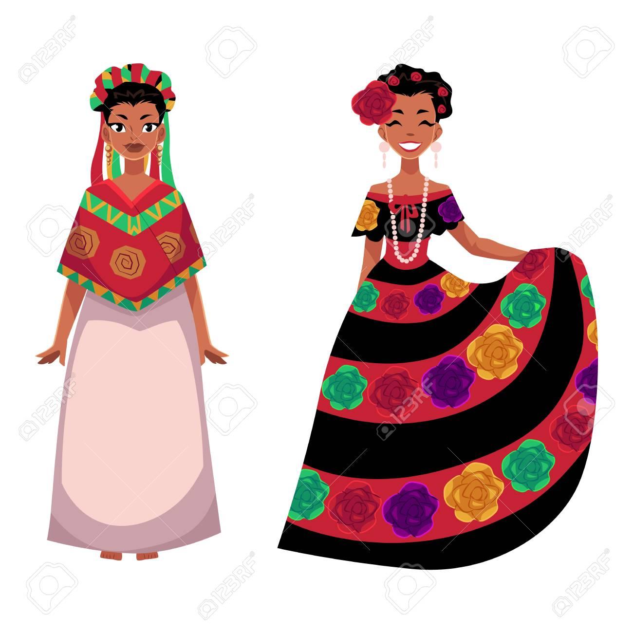 84dce11556 Dos mujer mexicana en traje nacional tradicional decorado con flores  bordadas