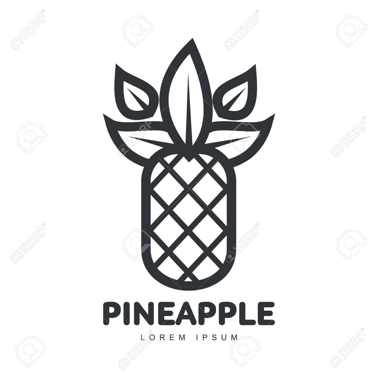 Black And White Symmetric Graphic Pineapple Logo Template, Vector ... for Clipart Pineapple Black And White  45ifm