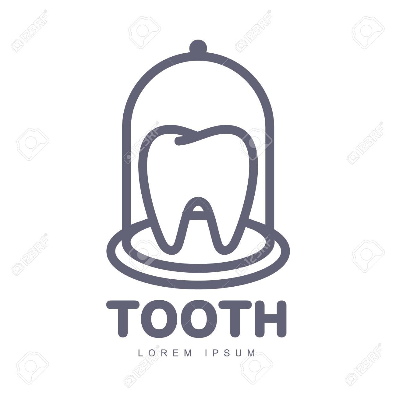 Black and white line art dental care logo template with tooth black and white line art dental care logo template with tooth under bell glass vector maxwellsz