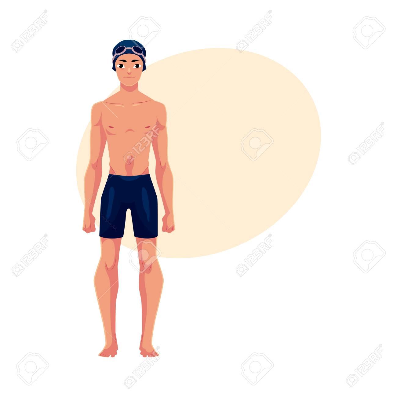 Jovem Apaixonado Nadador Em Terno De Natacao Bone E Ilustracao