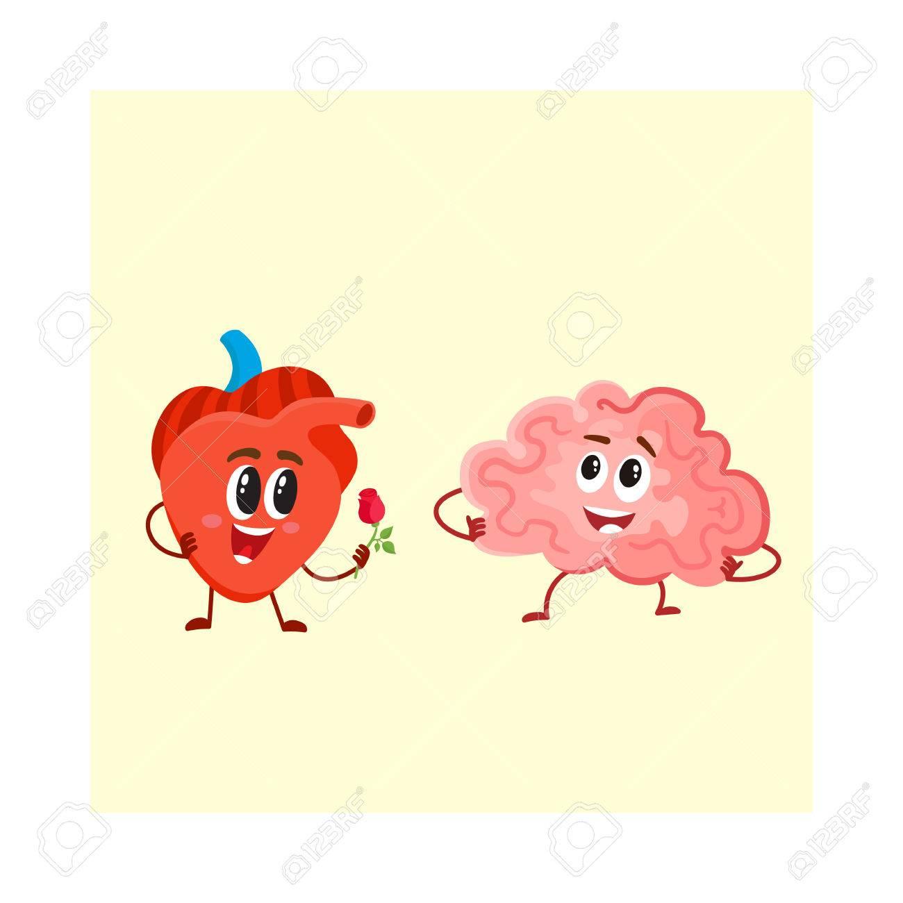 Nette Und Lustige Menschliche Herz- Und Gehirncharaktere, Logik ...