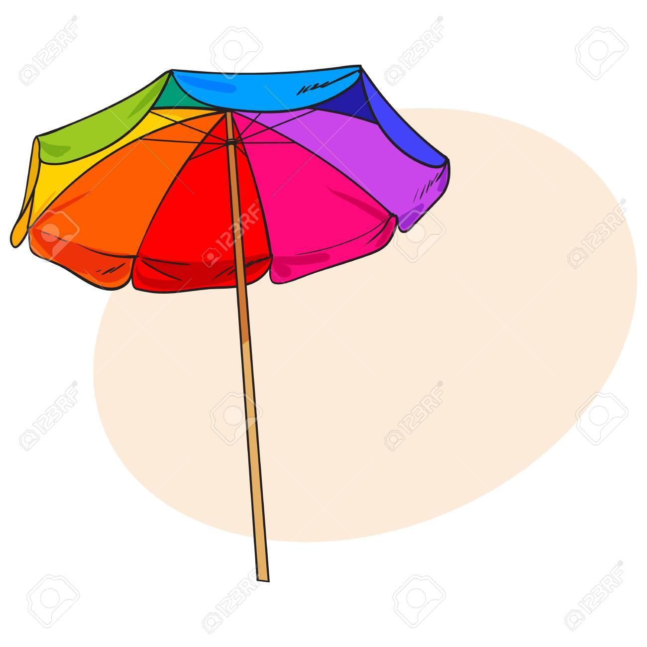 Arco Iris Coloreado, Paraguas De Playa Abierto, Ilustración Del ...