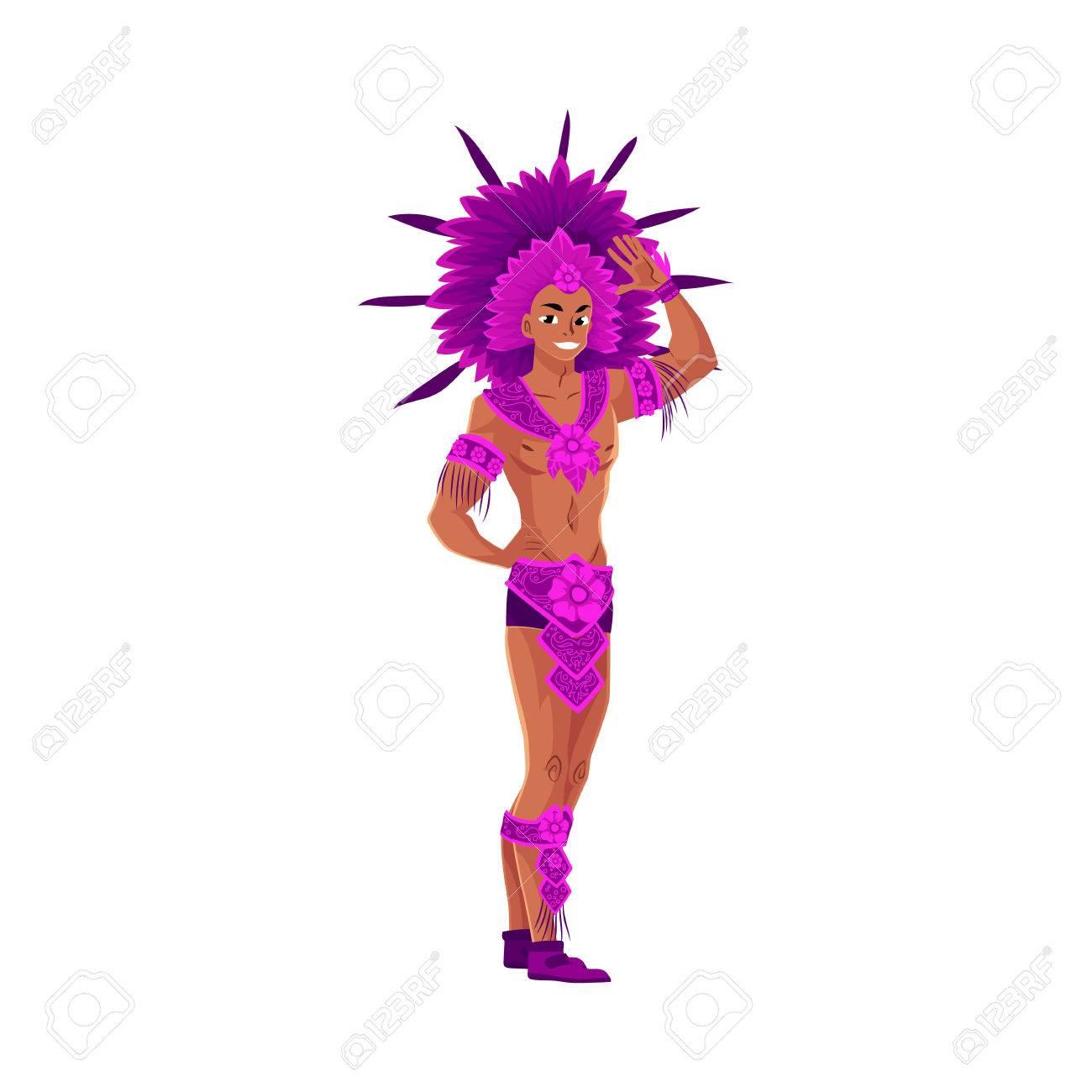 cb69efb52ada Vestido de hombre joven para el carnaval brasileño en Río de Janeiro,  bailarín de samba en traje de plumas y tocado, ilustración vectorial de  dibujos ...