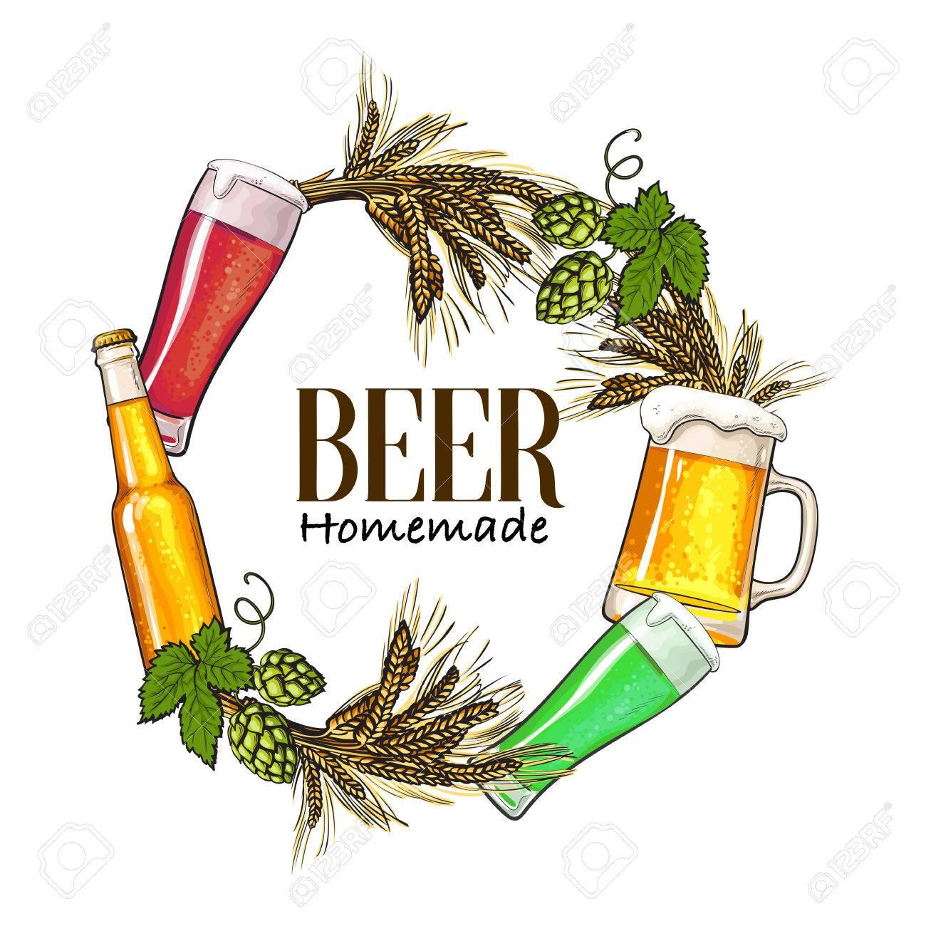 Runde Rahmen Der Bierflasche, Becher Und Glas, Malz Und Hopfen Mit ...