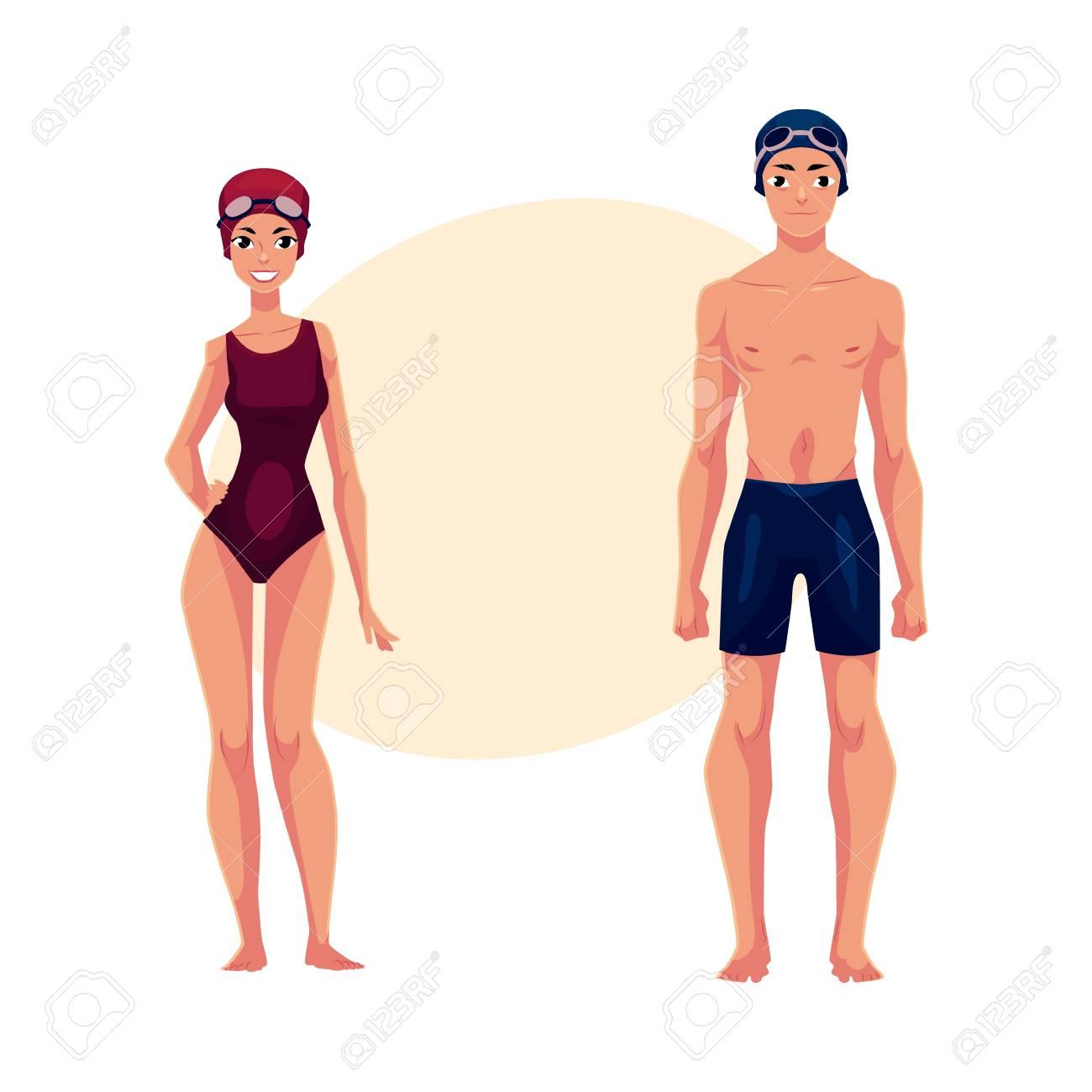 184d44dc8767 Pareja de nadadores, hombre y mujer, en trajes de baño, gorras, ilustración  vectorial de dibujos animados con lugar para el texto.