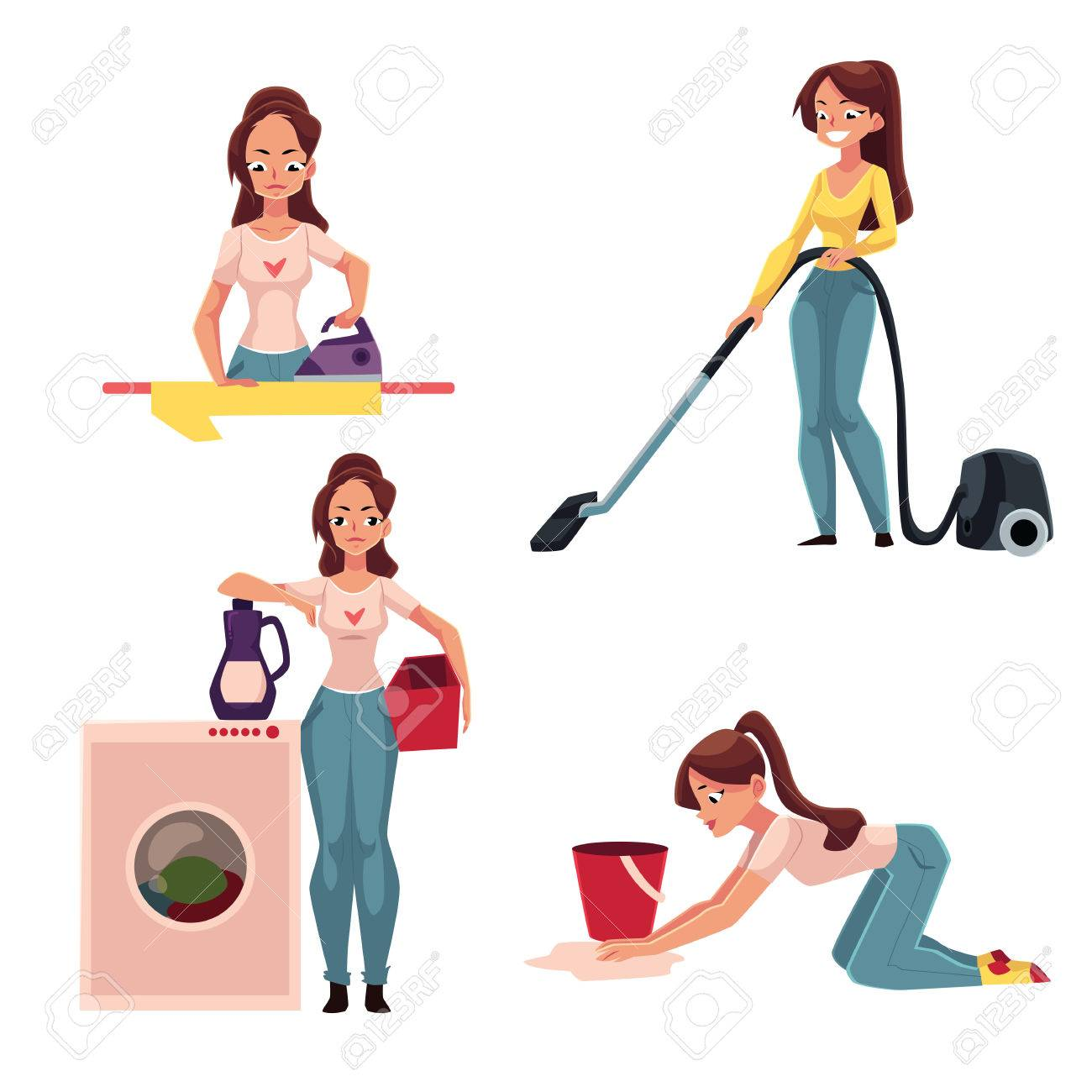 Junge Frau, Hausfrau Tun Aufgaben   Bügeln, Waschen, Staubsaugen ...
