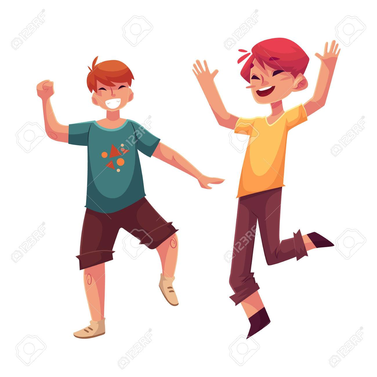 Funny Cartoon Images Of Boys two funny boys, kids having fun, dancing at party, cartoon vector..