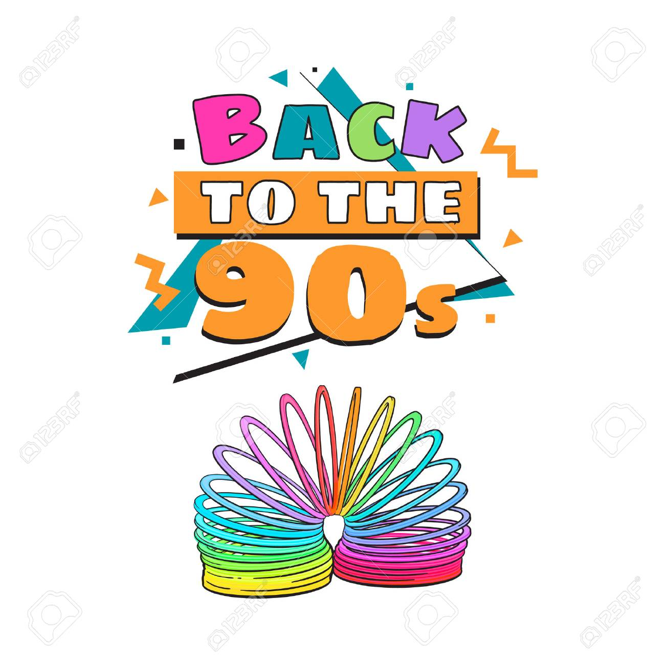 memphis retro style back to the 90s poster template with rainbow