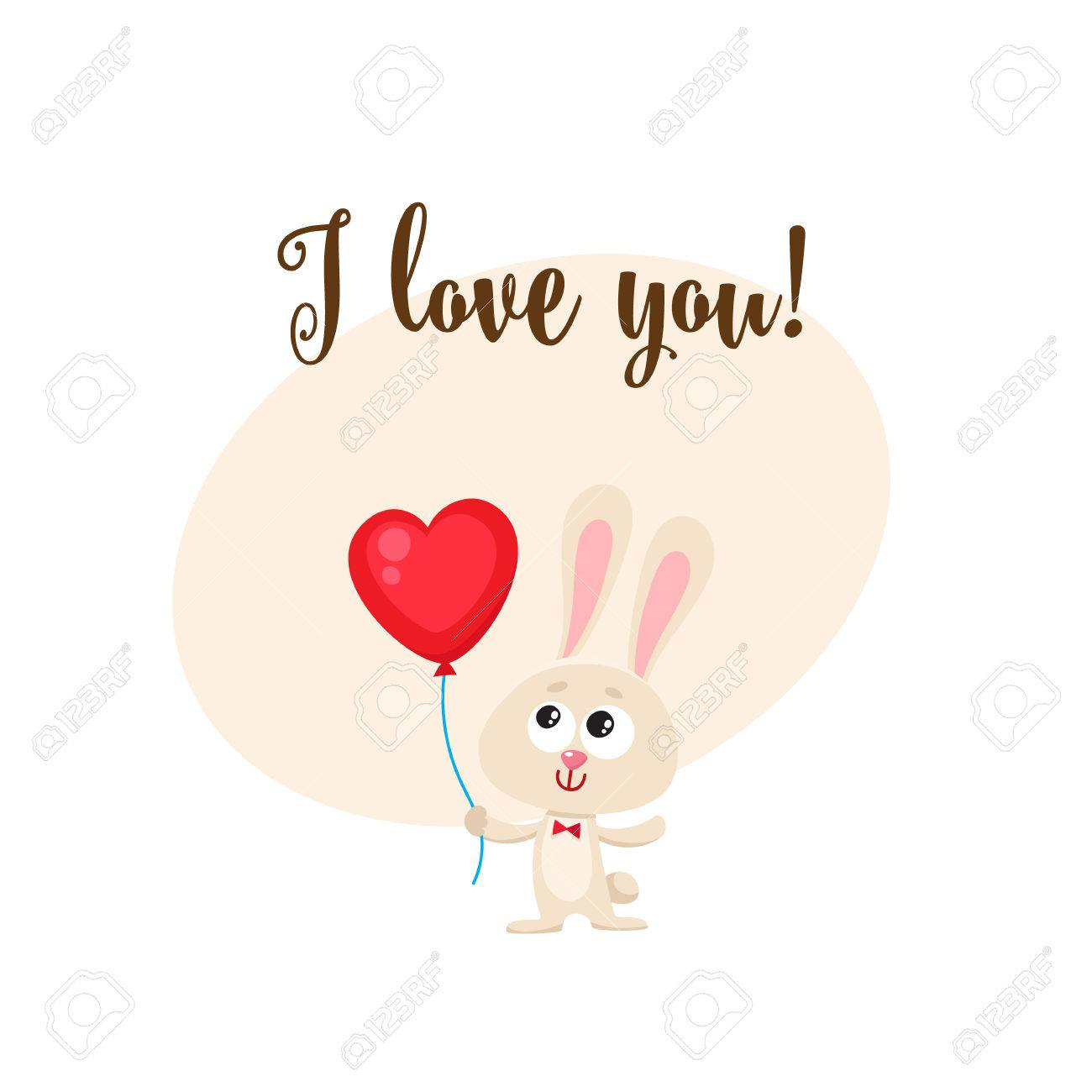 i love you greeting card banner template with cute funny rabbit