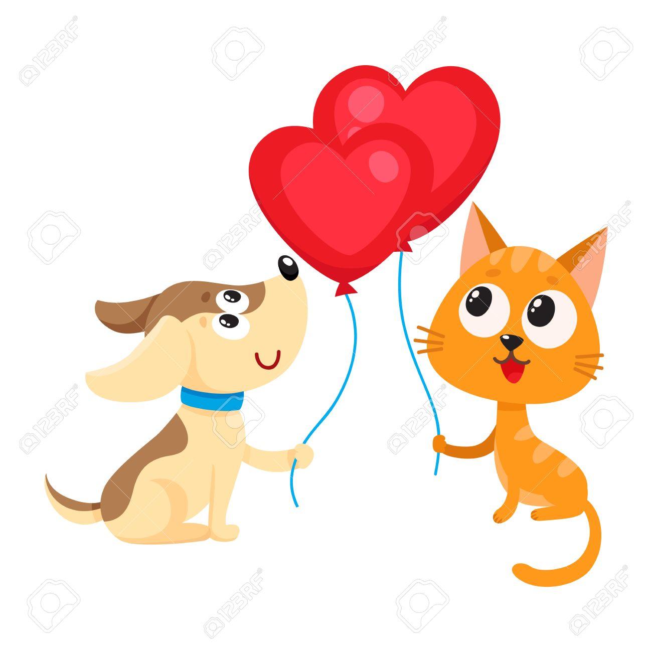 2585eb8bbfe62 Cute Y Divertido Perro Y Gato Sosteniendo Corazón Rojo En Forma De Globo