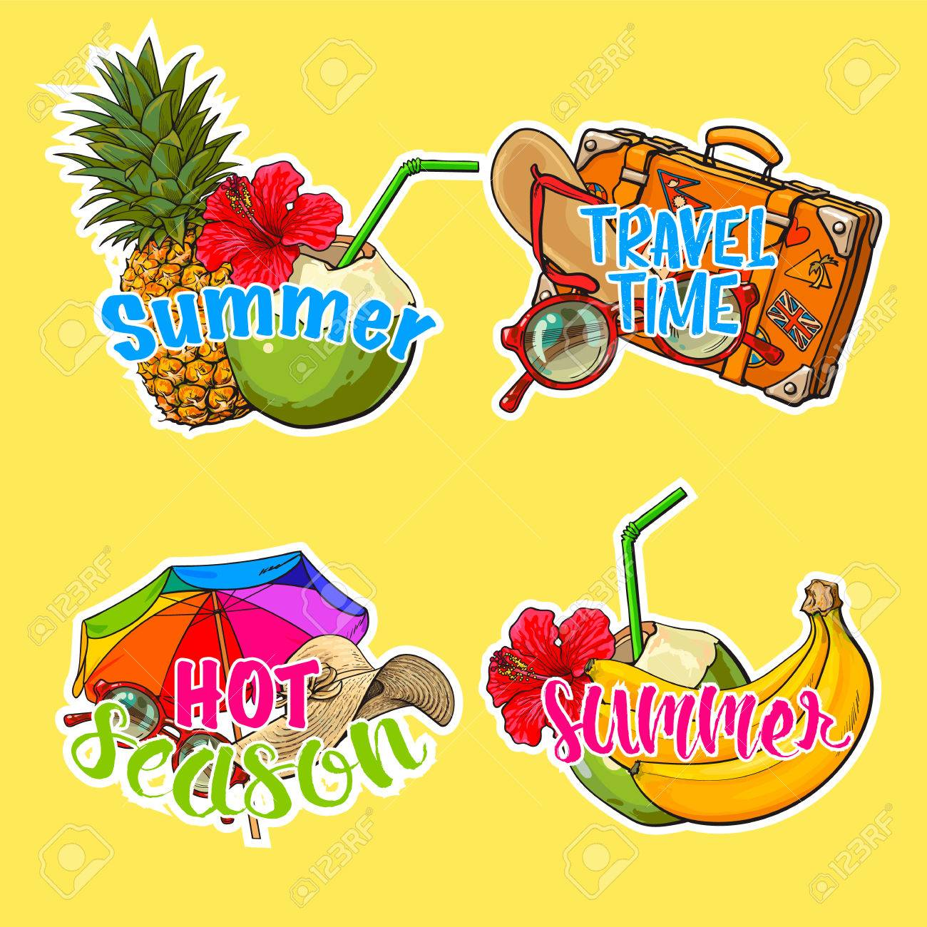 Set Of Stickers Patches With Summer Time Vacation Beach Holiday Rh 123rf Com Going On Clip Art Funny