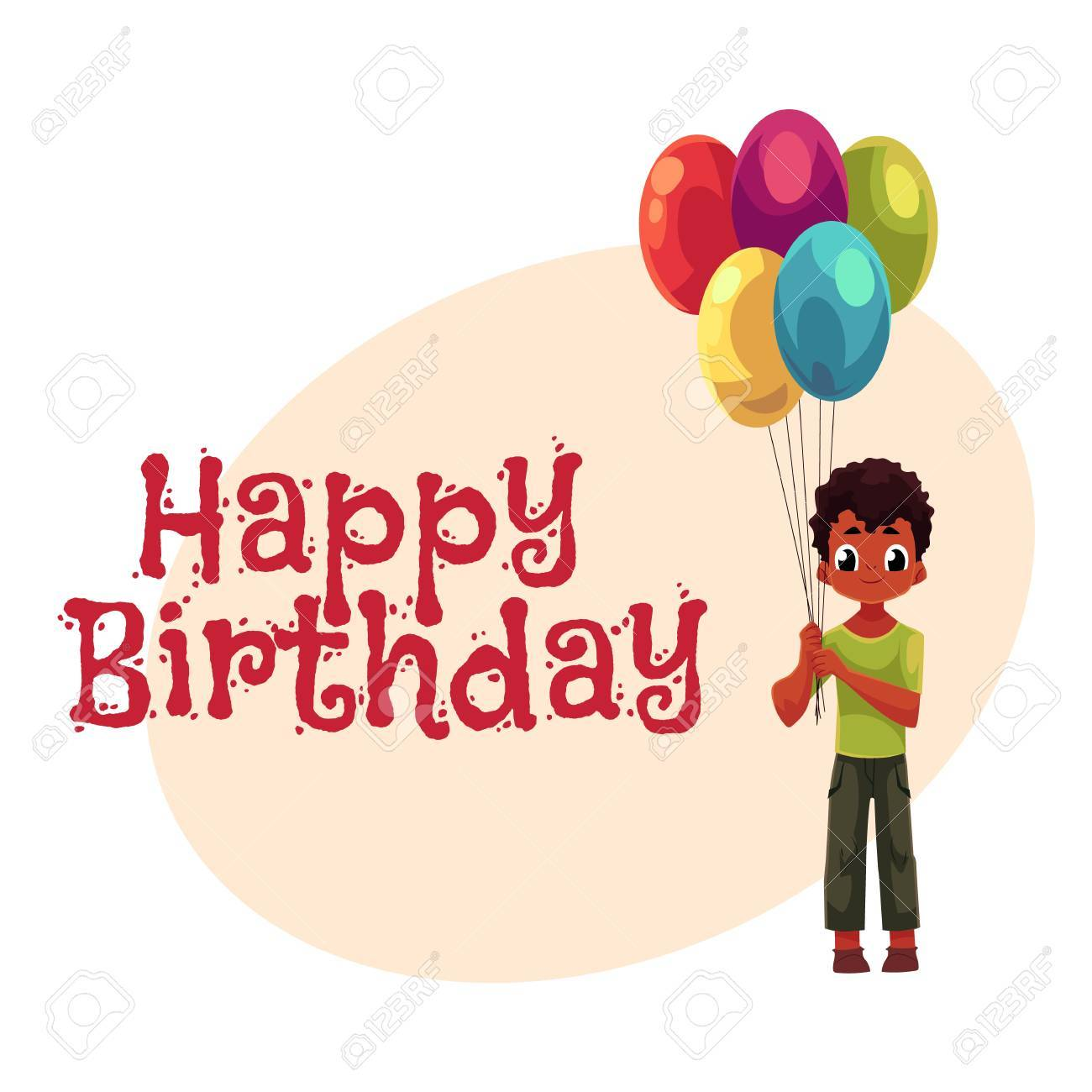 Happy birthday vector greeting card poster banner design with happy birthday vector greeting card poster banner design with little black african american kristyandbryce Images