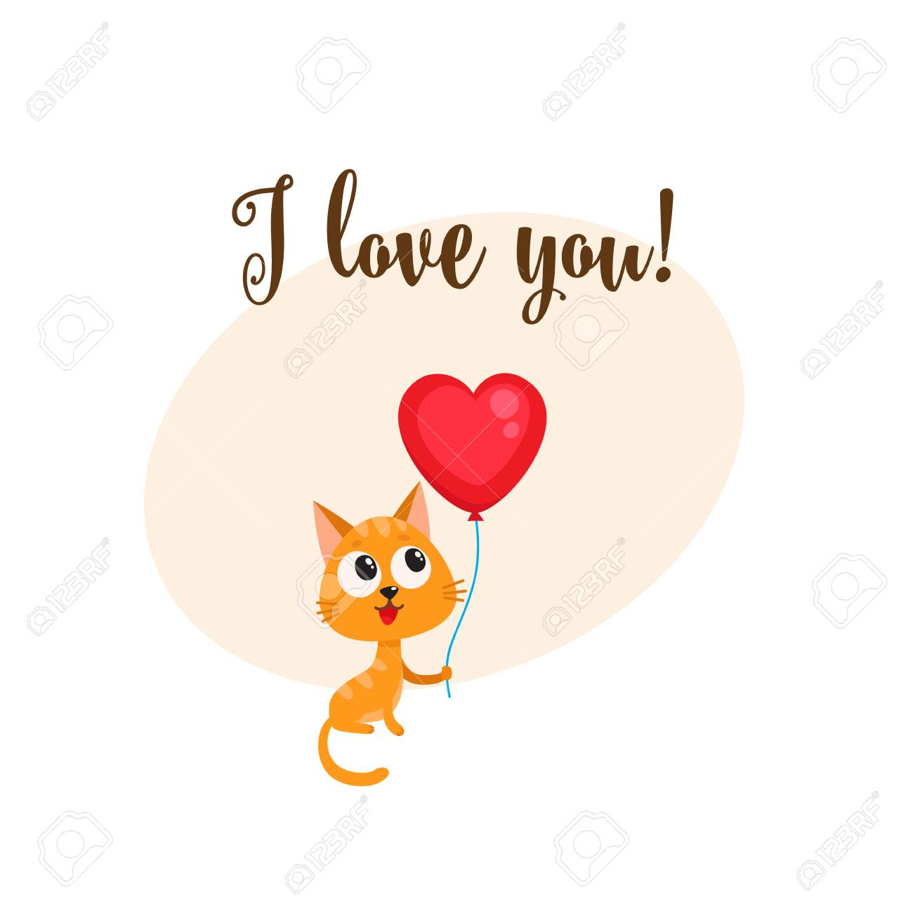 I love you greeting card, banner template with funny cat, kitten holding red heart shaped balloon, cartoon vector illustration. Cute cat holding heart balloon, love postcard, greeting card, banner - 76364771